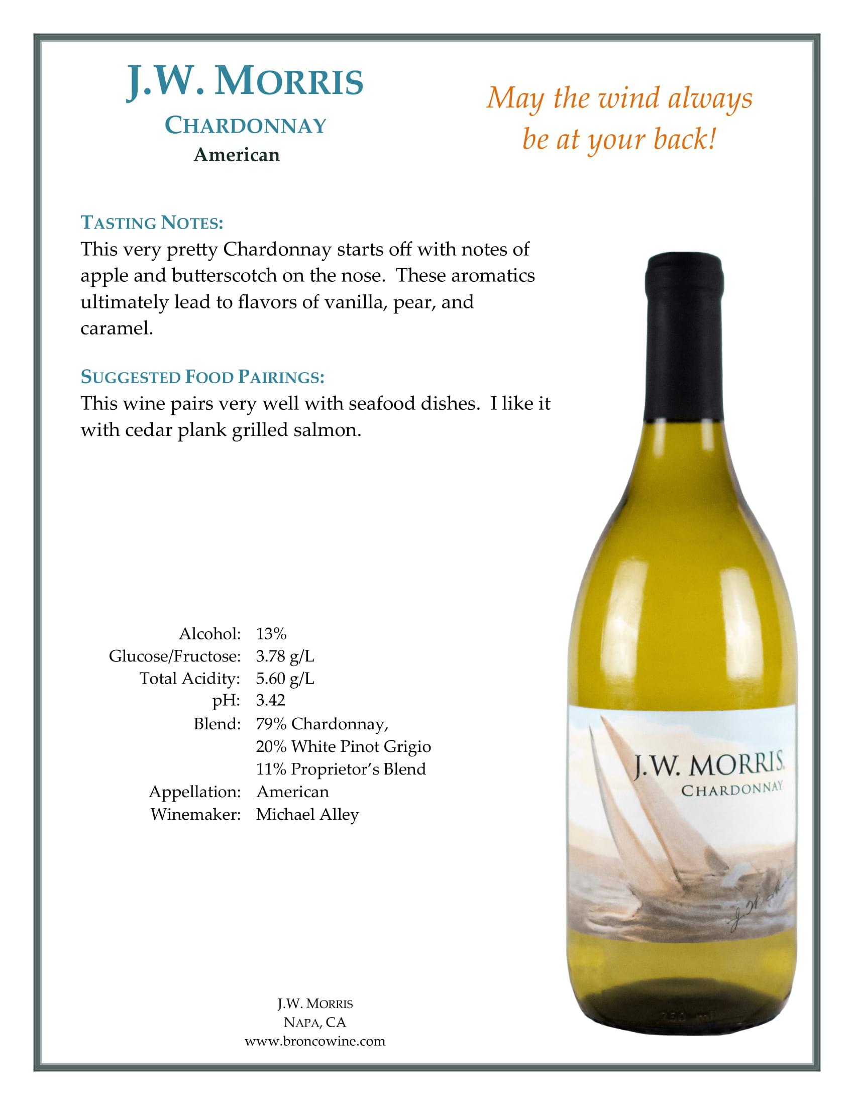 JW Morris Chardonnay Tech Sheet