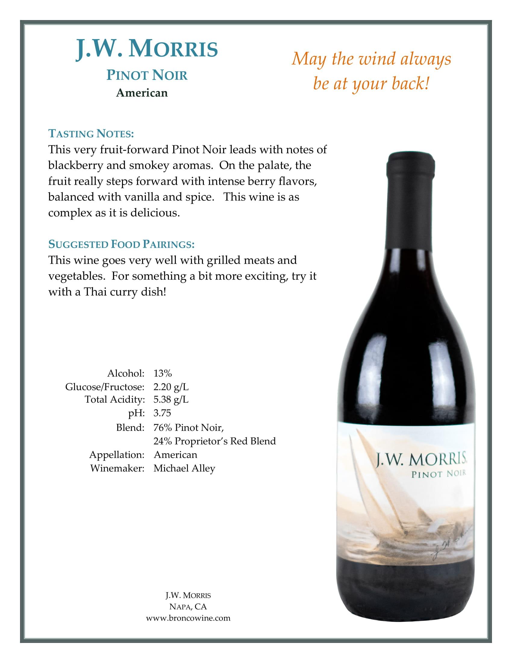 JW Morris Pinot Noir Tech Sheet