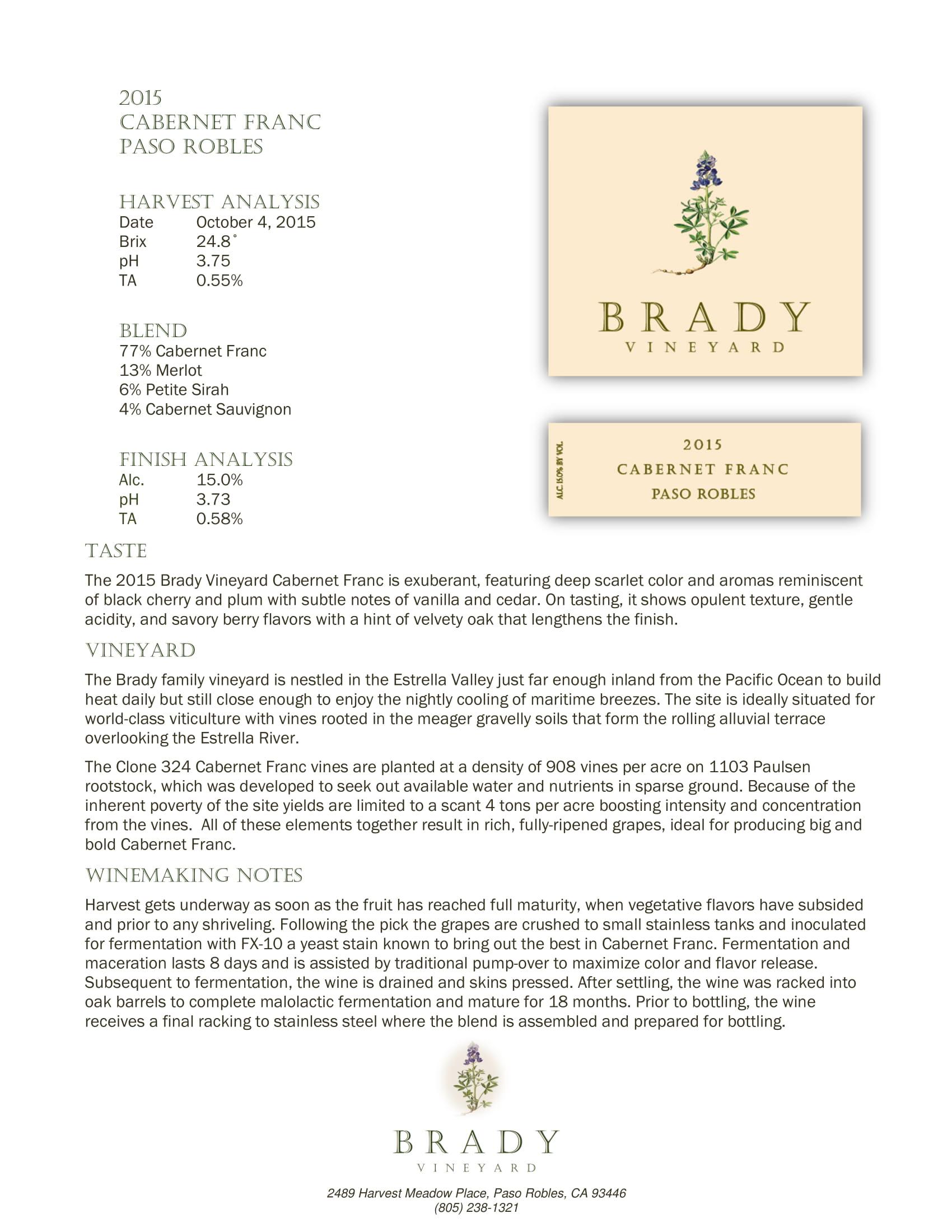 Brady Vineyards Cabernet Franc Sell Sheet