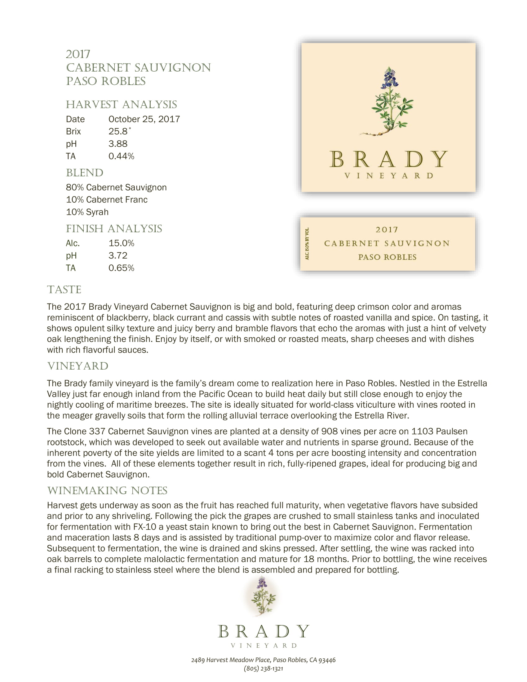 Brady Vineyards Cabernet Sauvignon Sell Sheet