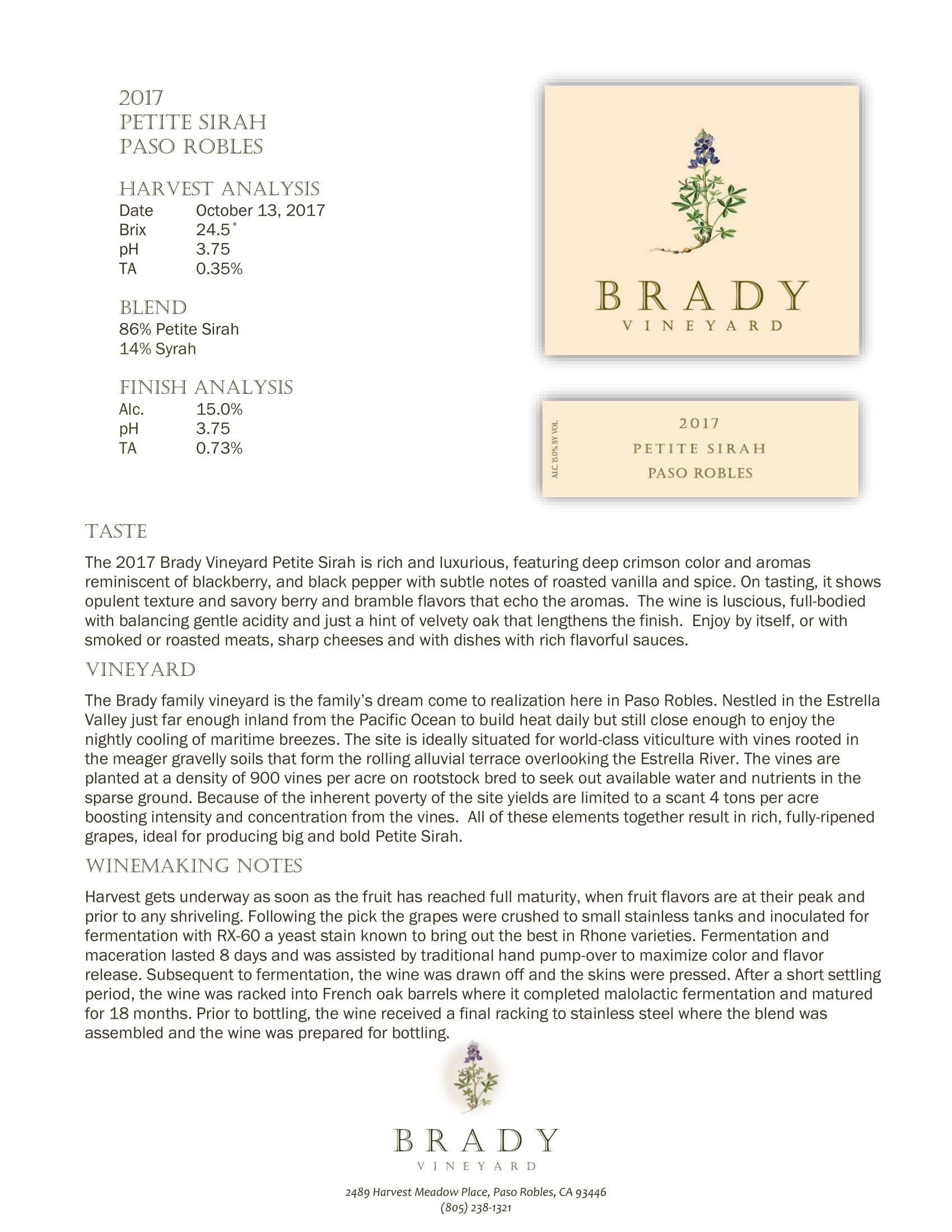 Brady Vineyards Petite Sirah Sell Sheet