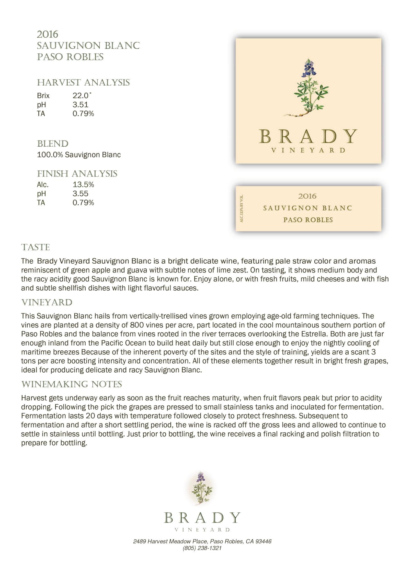 Brady Vineyards Sauvignon Blanc Sell Sheet