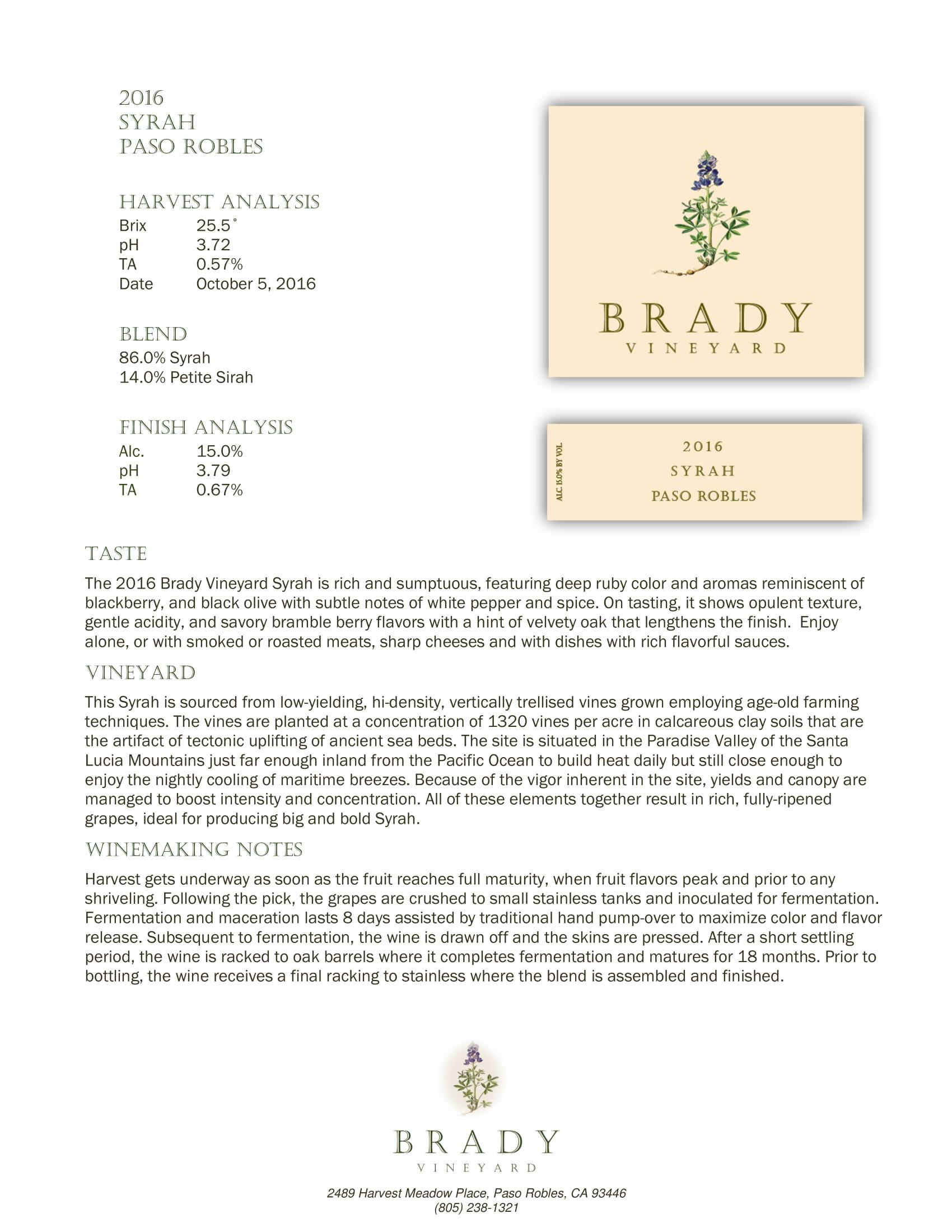 Brady Vineyards Syrah Sell Sheet