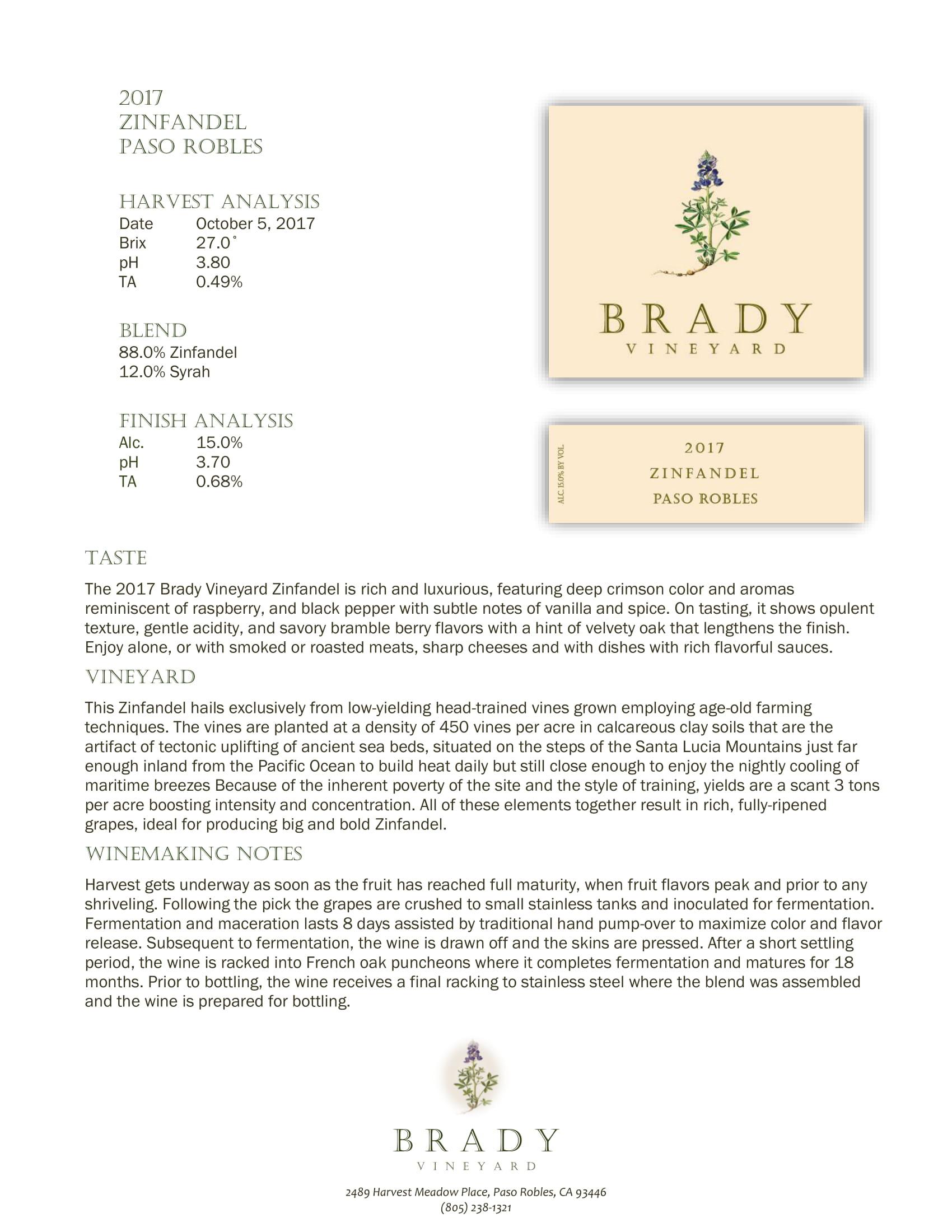 Brady Vineyards Zinfandel Sell Sheet