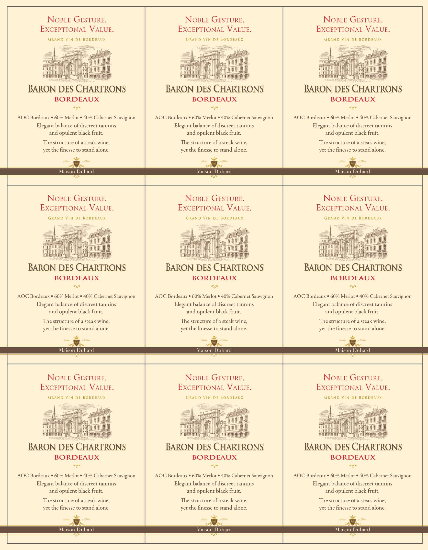 Baron des Chartrons Bordeaux Shelf Talkers