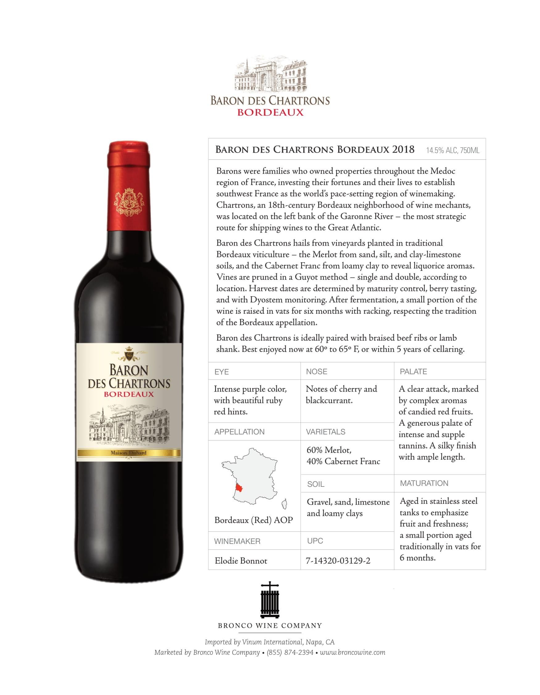 Baron des Chartrons Bordeaux Tech Sheet