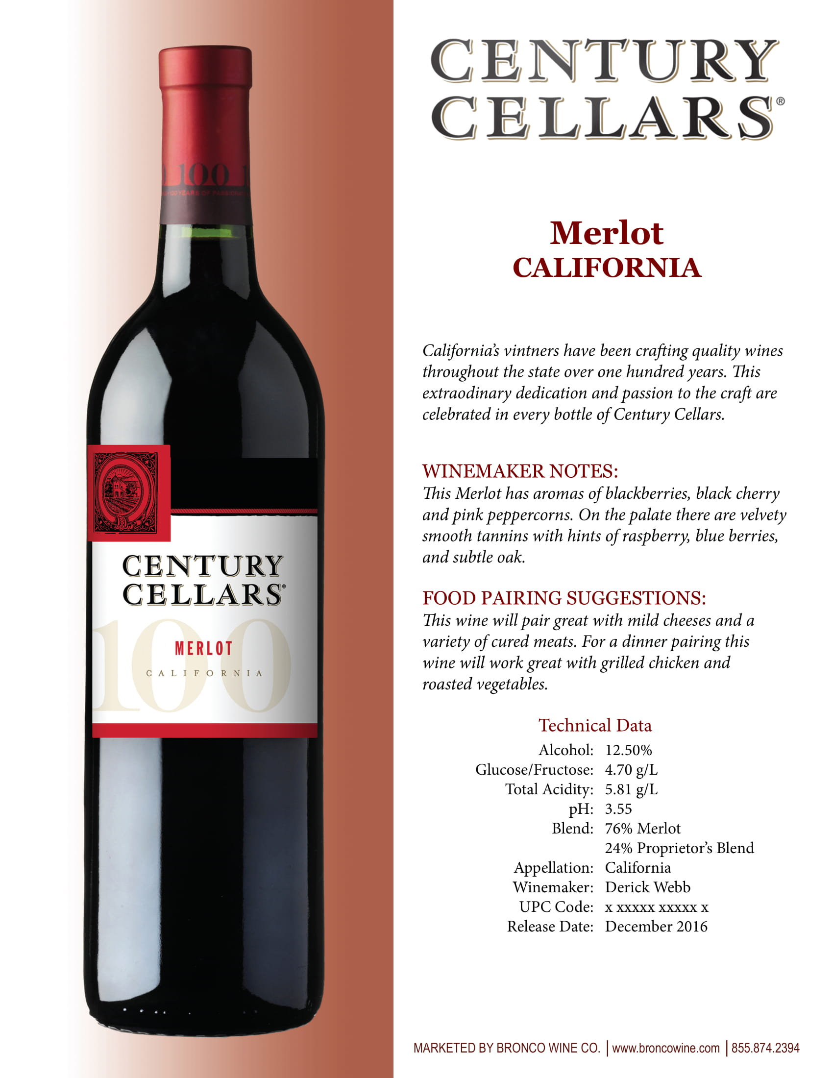 Century Cellars Merlot Tech Sheet