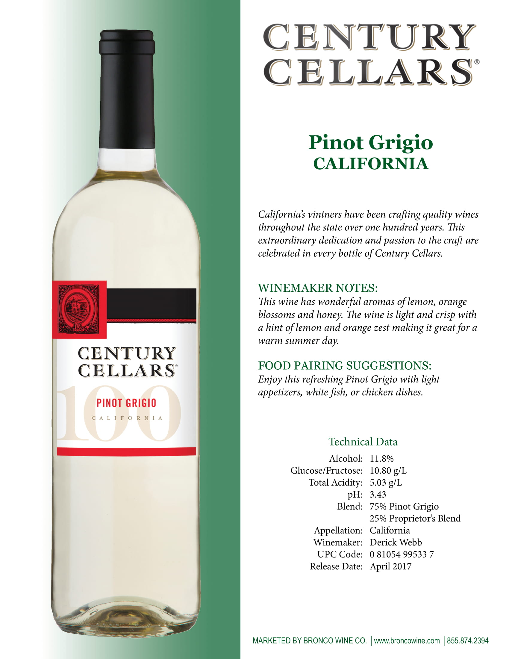 Century Cellars Pinot Grigio Tech Sheet