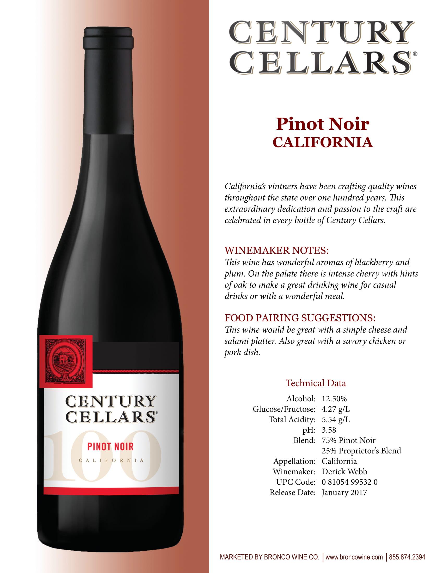 Century Cellars Pinot Noir Tech Sheet