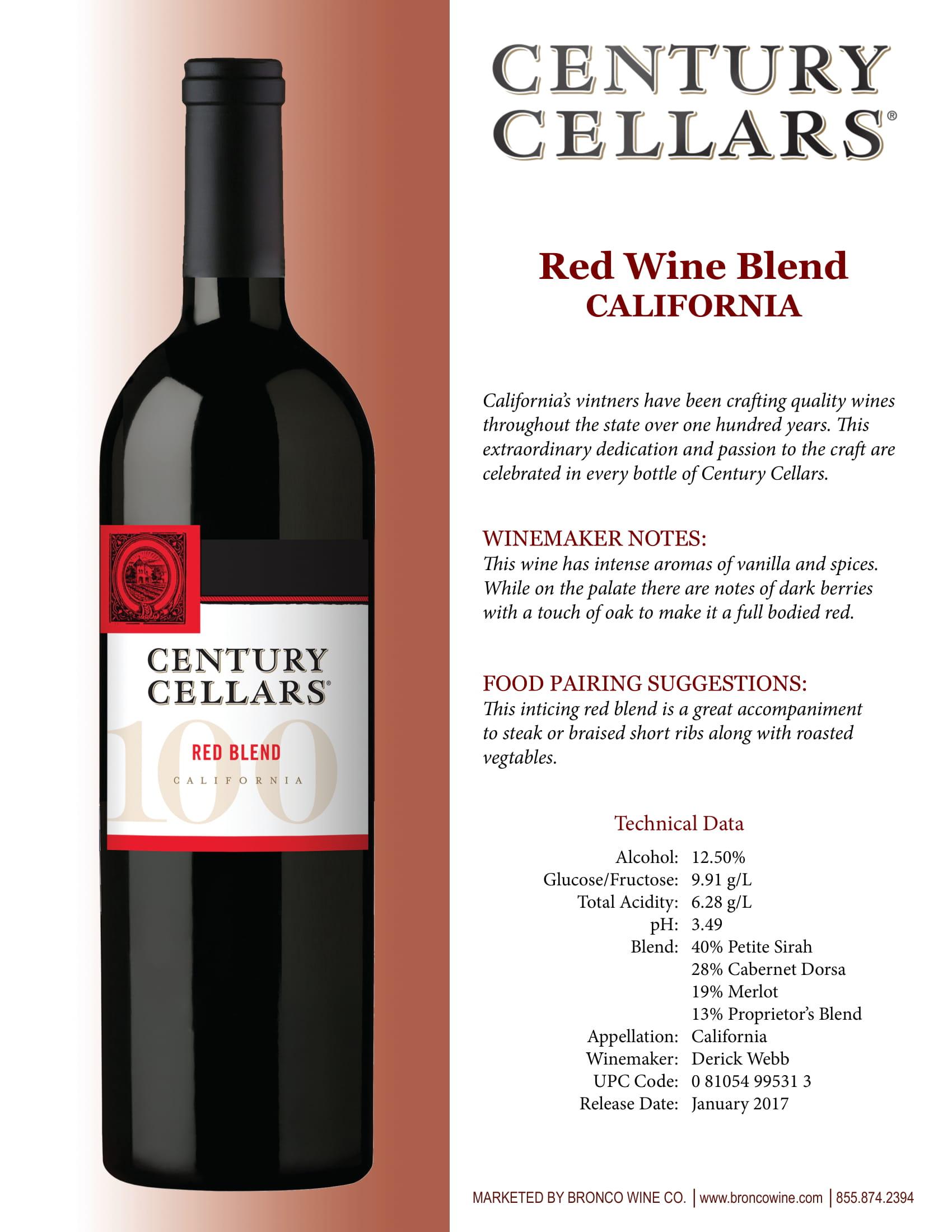 Century Cellars Red Blend Tech Sheet