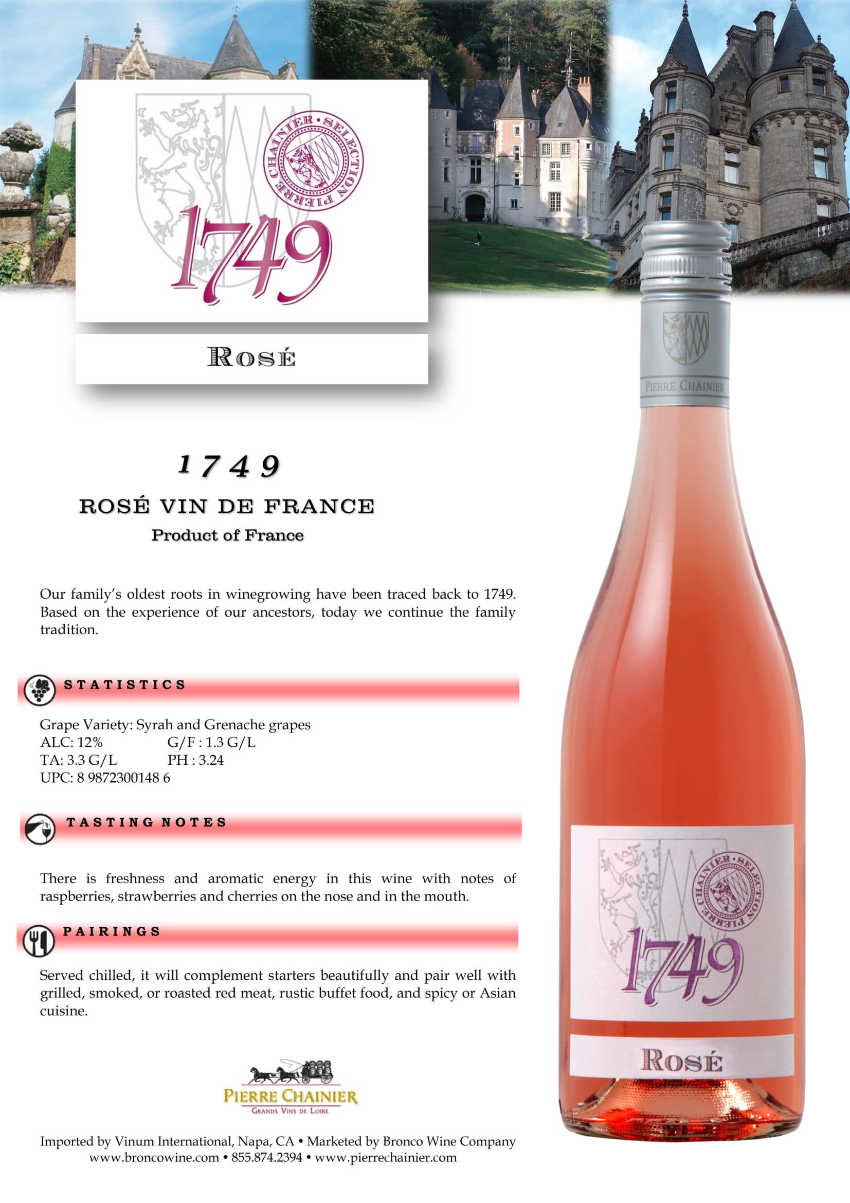 1749 Rosé Sell Sheet
