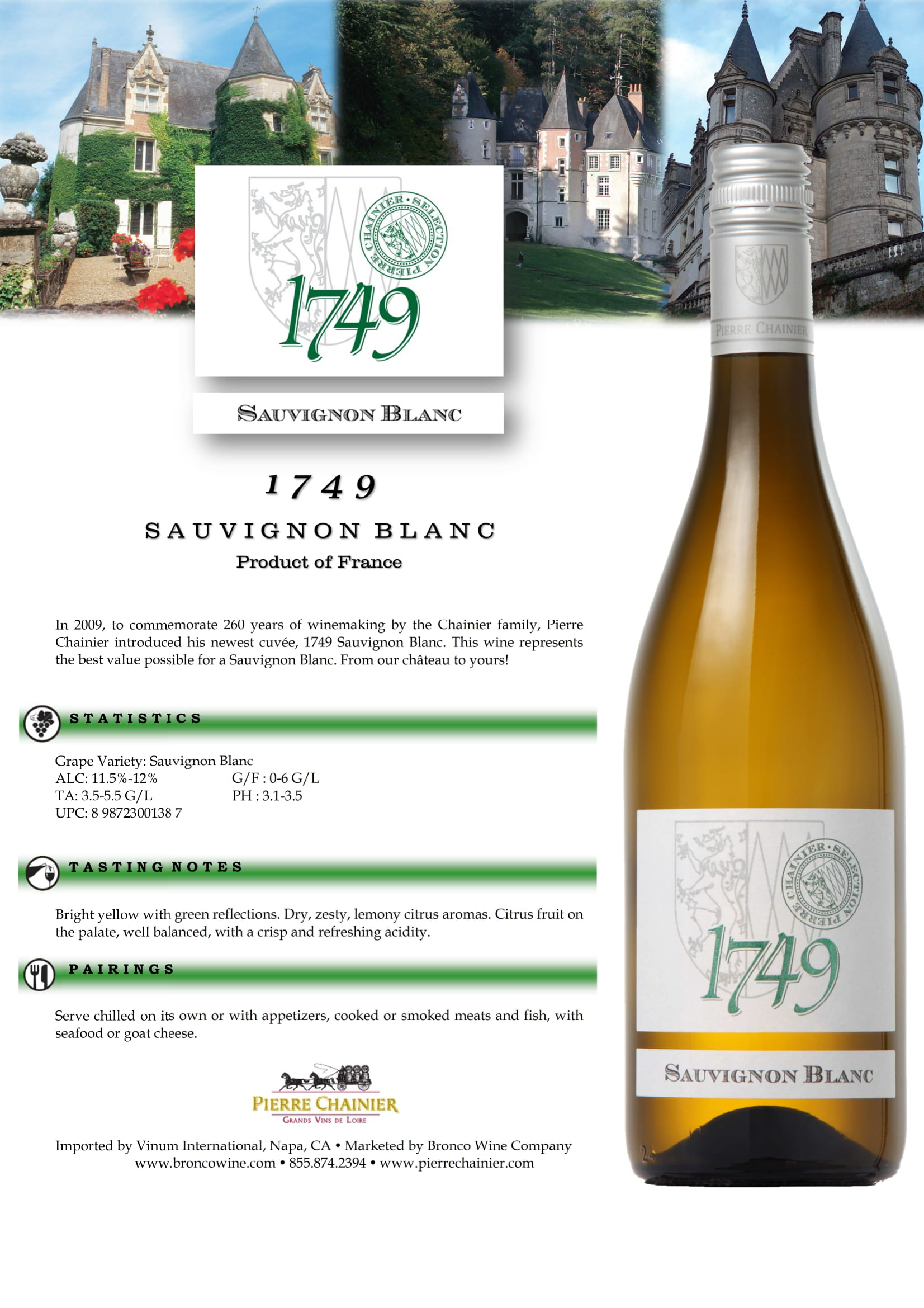 1749 Sauvignon Blanc Sell Sheet
