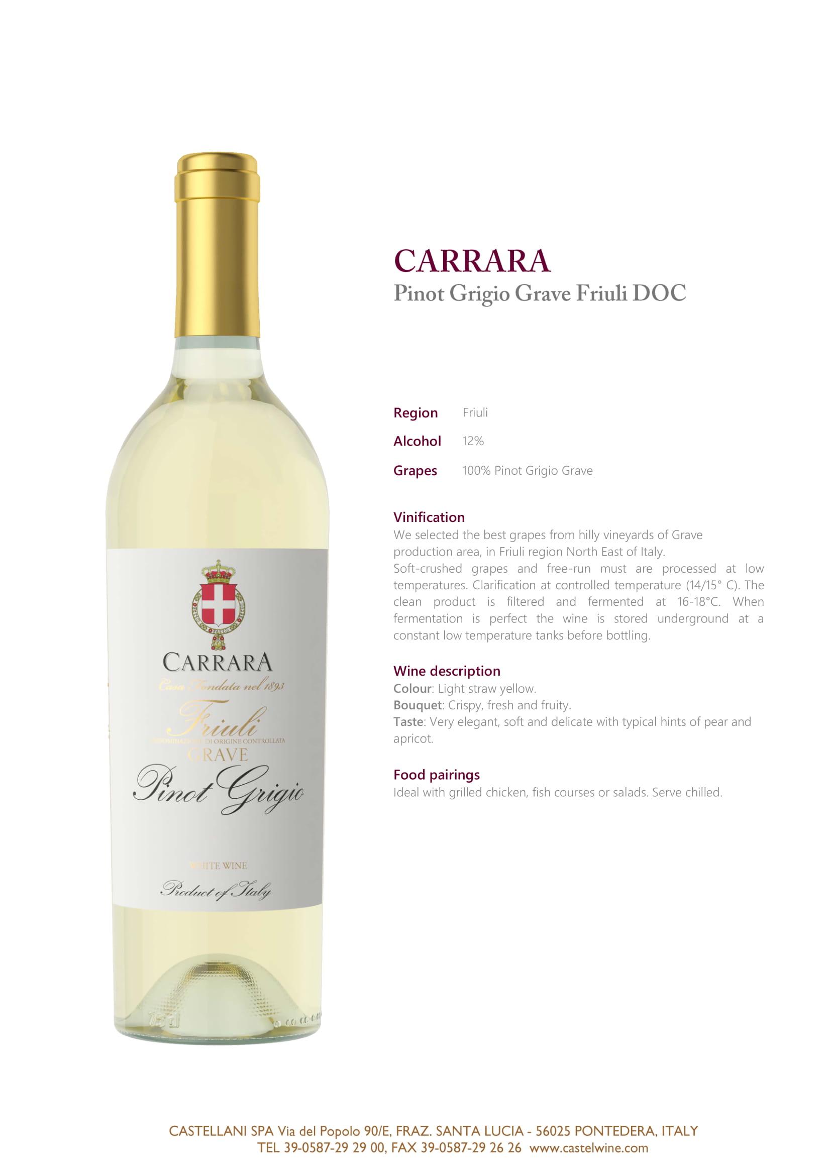 Carrara Pinot Grigio Tech Sheet