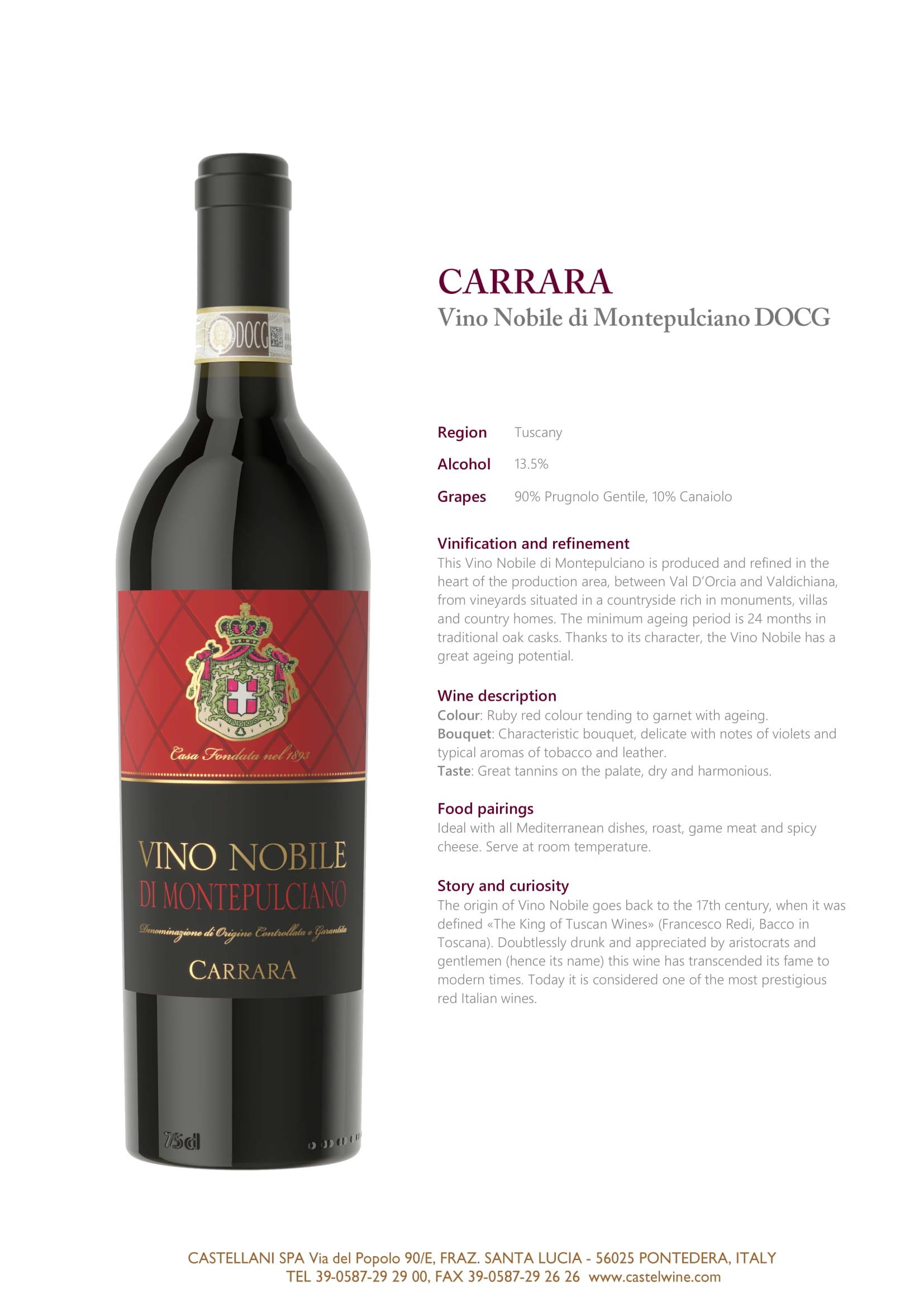 Carrara Vino Nobile Tech Sheet