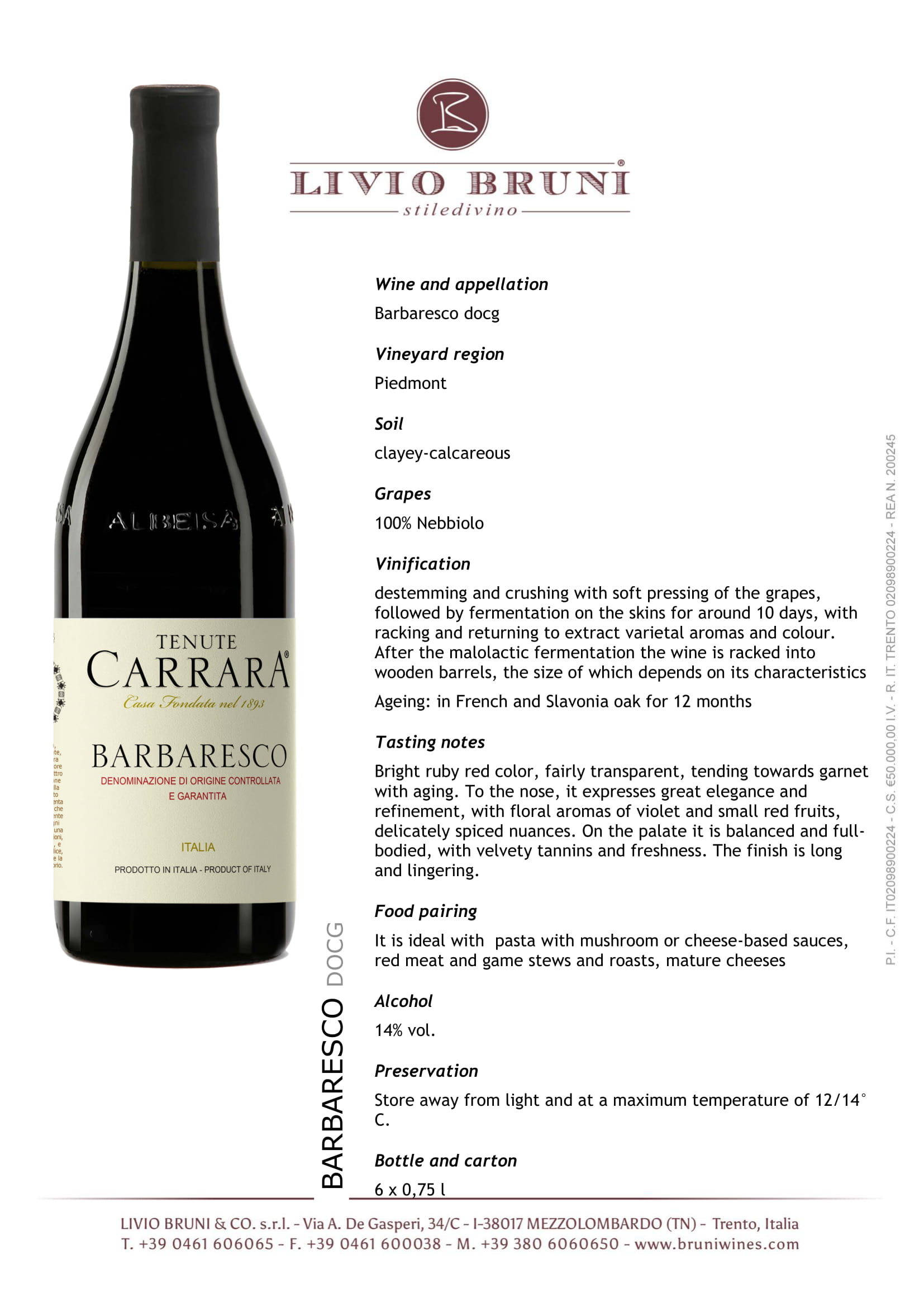 Tenute Carrara Barbaresco Tech Sheet
