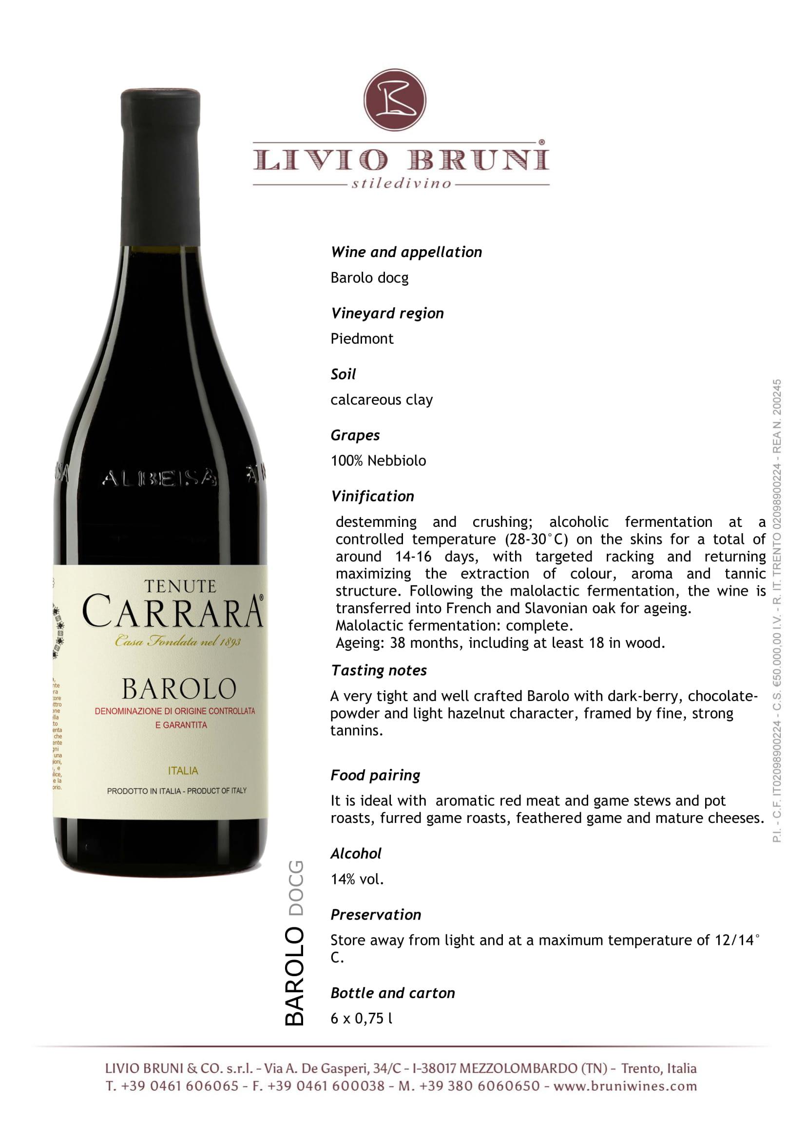 Tenute Carrara Barolo Tech Sheet