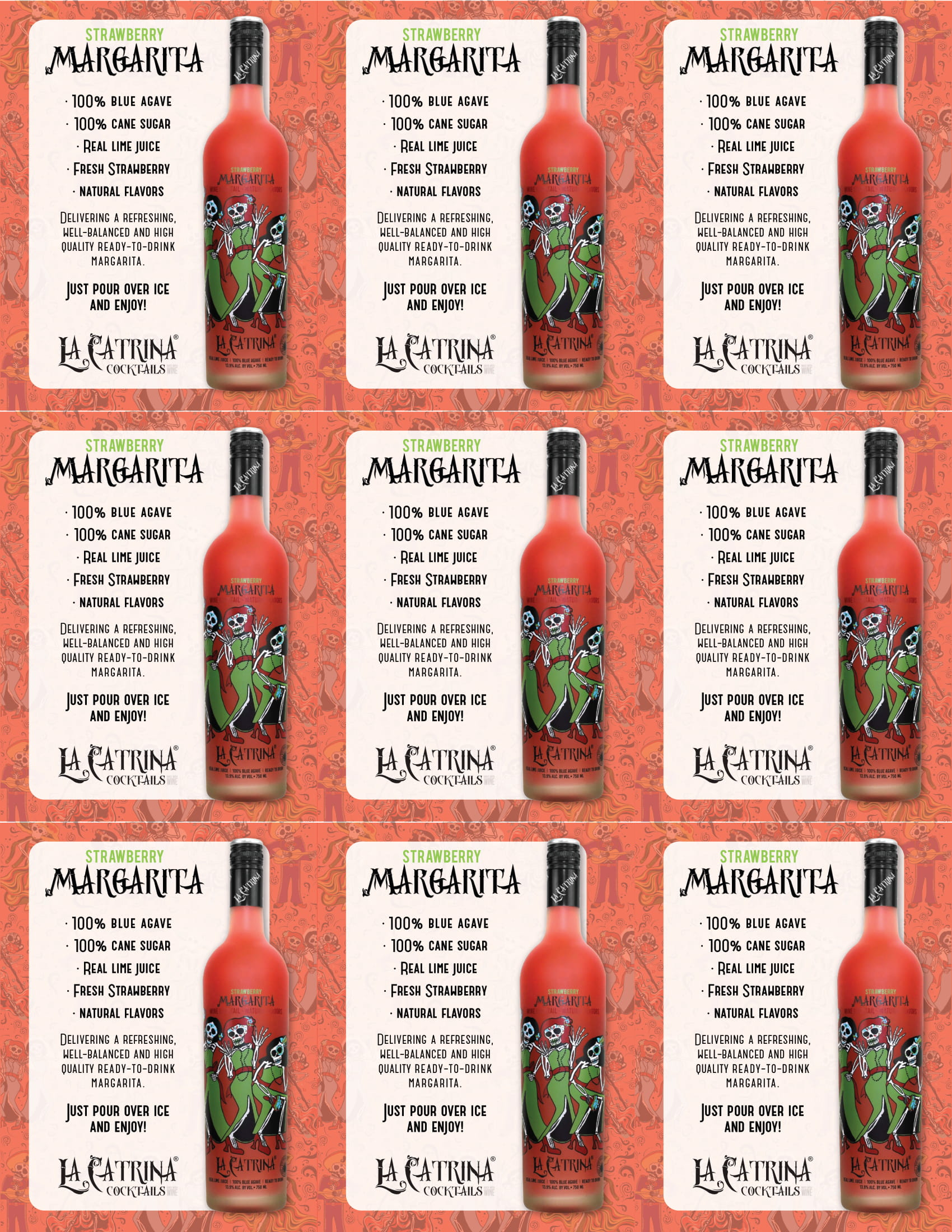 La Catrina Cocktails Strawberry Margarita Shelf Talkers