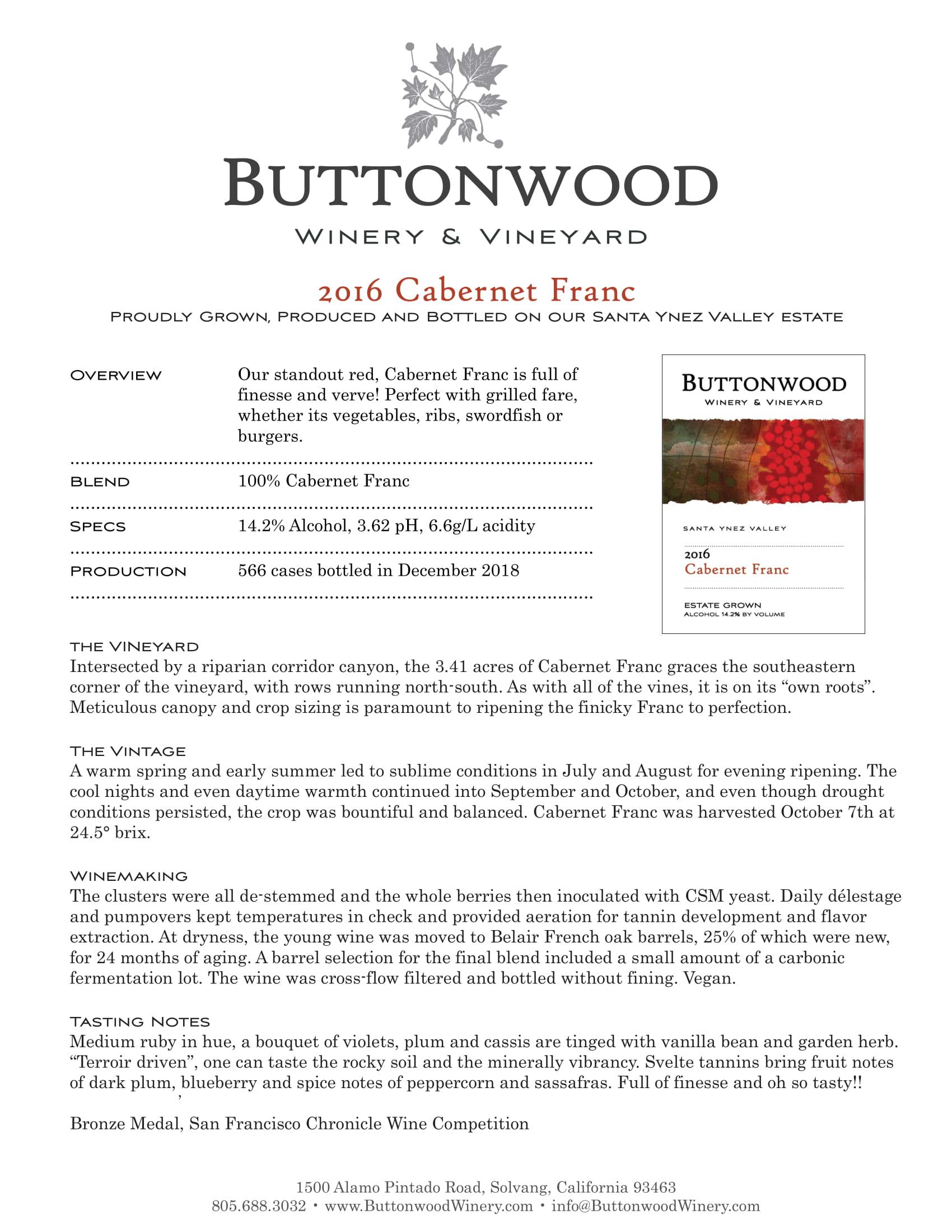 Buttonwood Cabernet Franc Tech Sheet