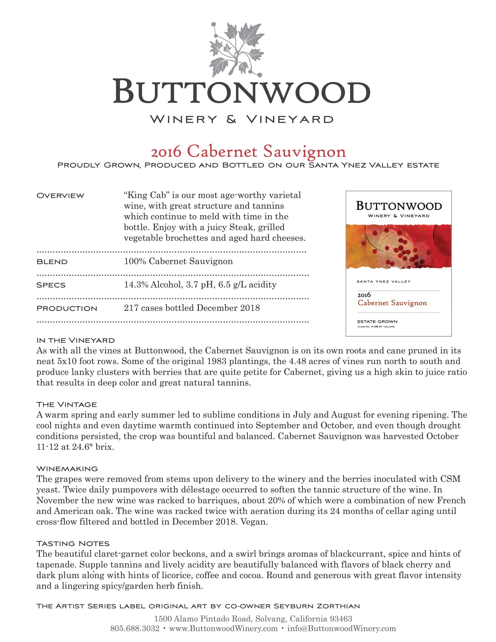 Buttonwood Cabernet Sauvignon Tech Sheet