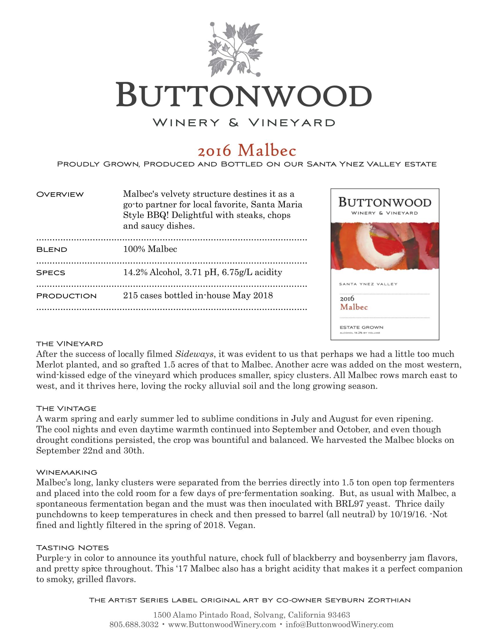 Buttonwood Malbec Tech Sheet