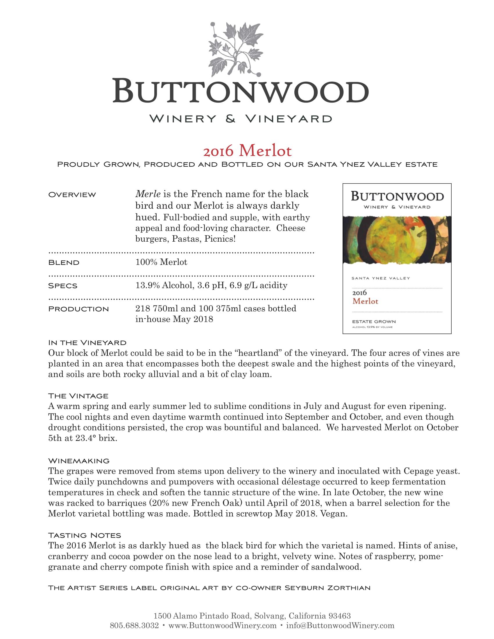 Buttonwood Merlot Tech Sheet