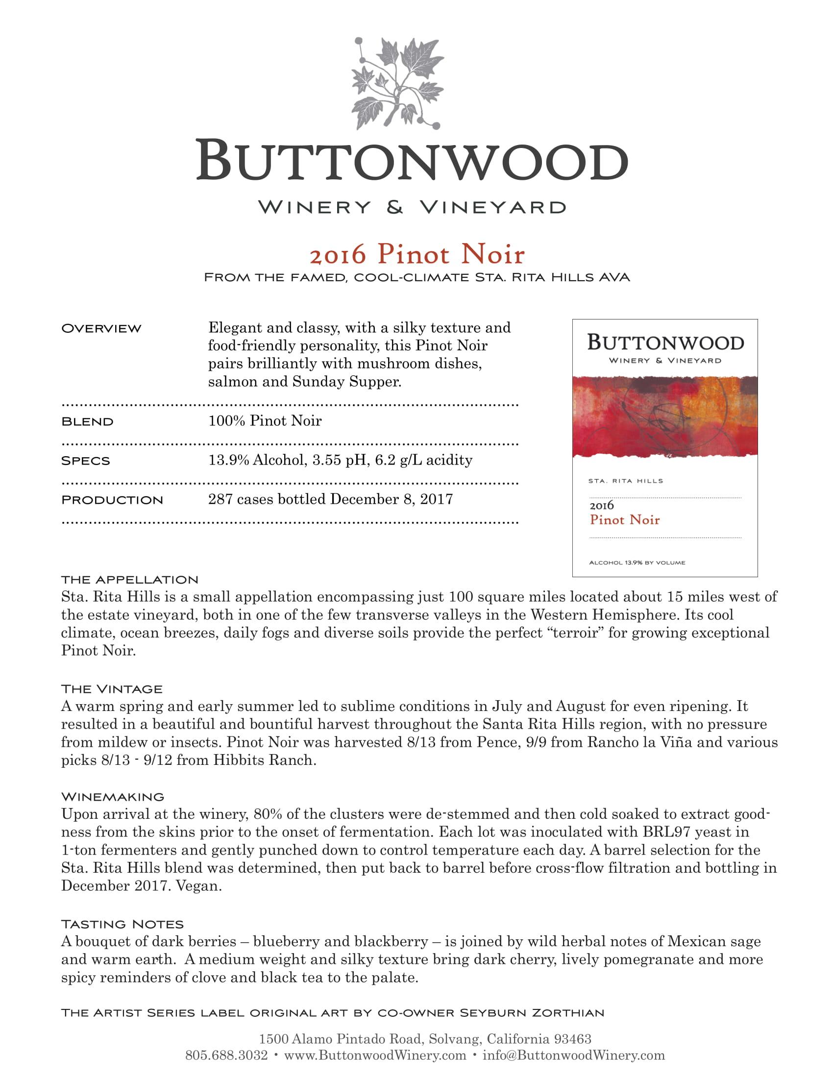 Buttonwood Pinot Noir Tech Sheet