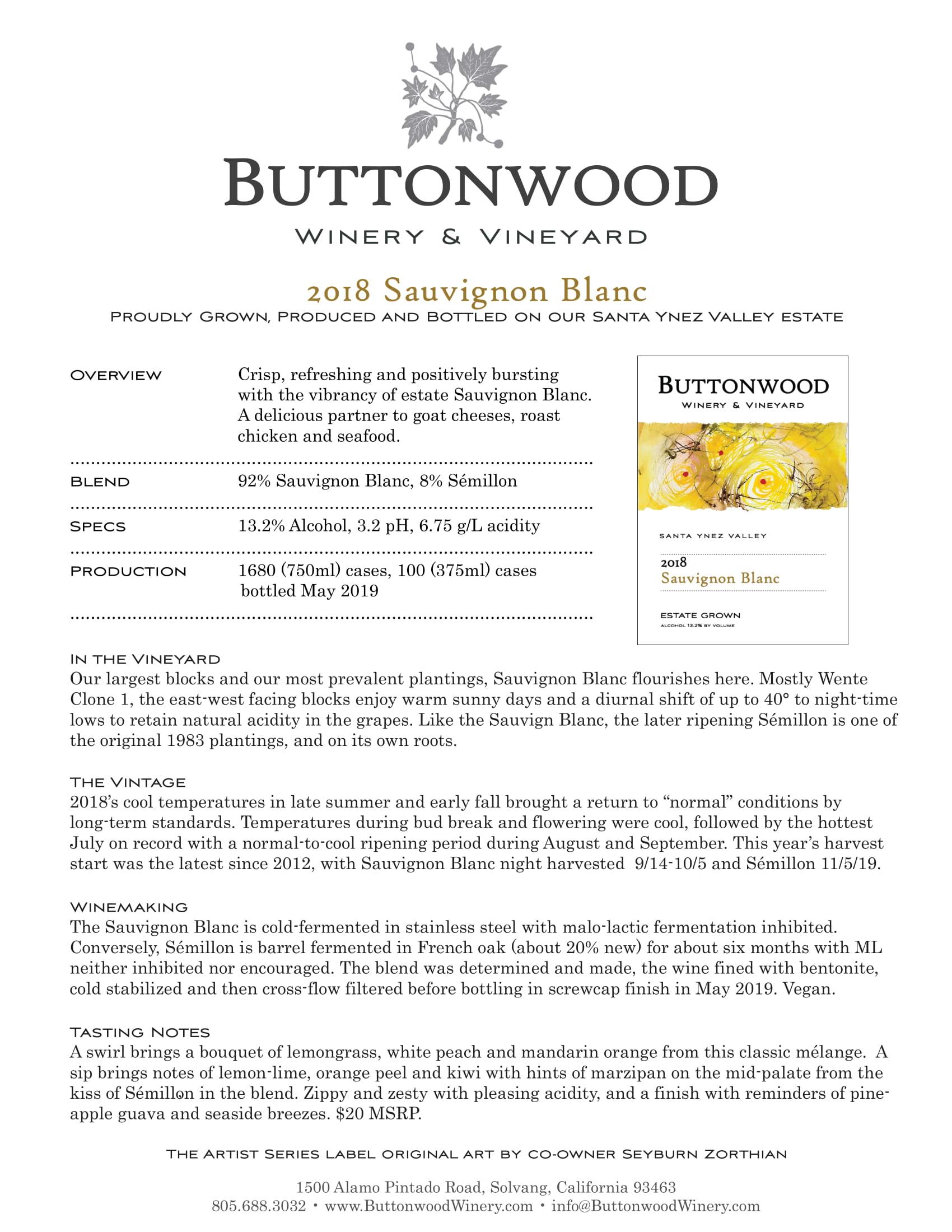 Buttonwood Sauvignon Blanc Tech Sheet