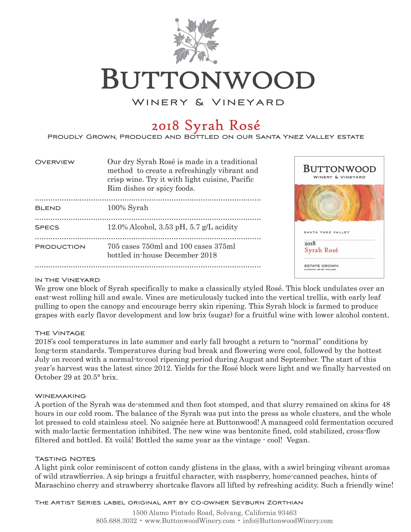 Buttonwood Syrah Rosé Tech Sheet