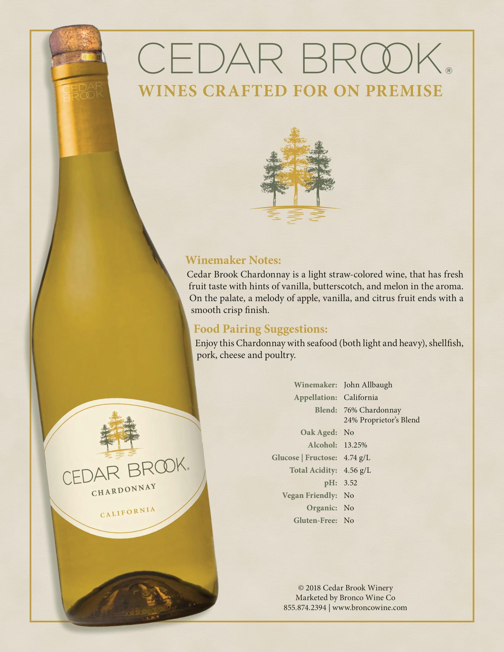 Cedar Brook Chardonnay Tech Sheet