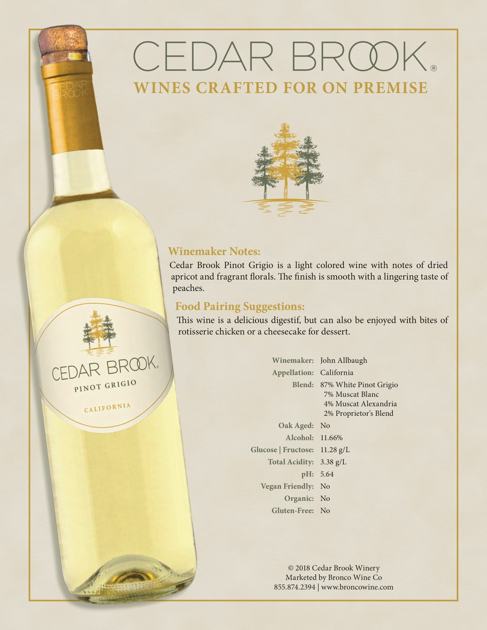 Cedar Brook Pinot Grigio Tech Sheet
