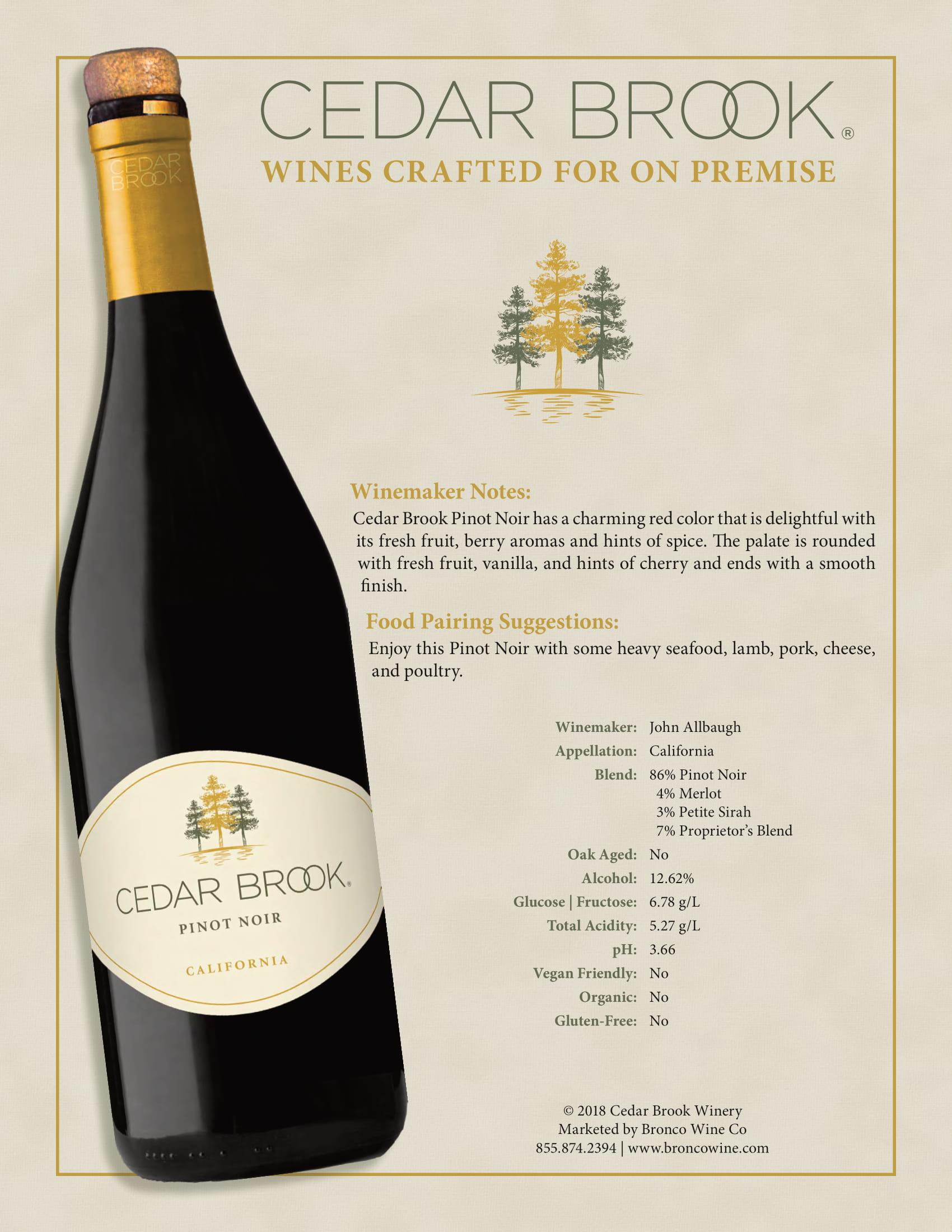 Cedar Brook Pinot Noir Tech Sheet
