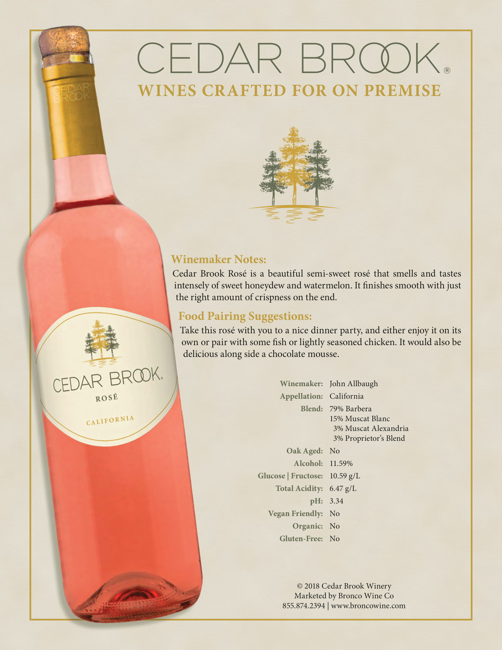 Cedar Brook Rosé Tech Sheet