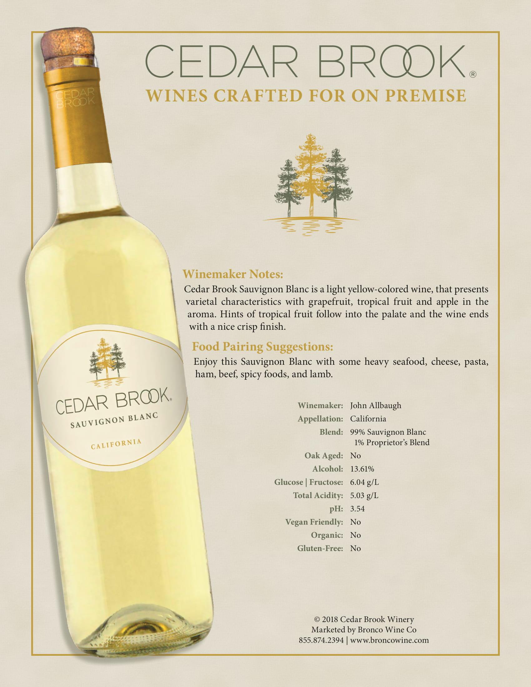 Cedar Brook Sauvignon Blanc Tech Sheet