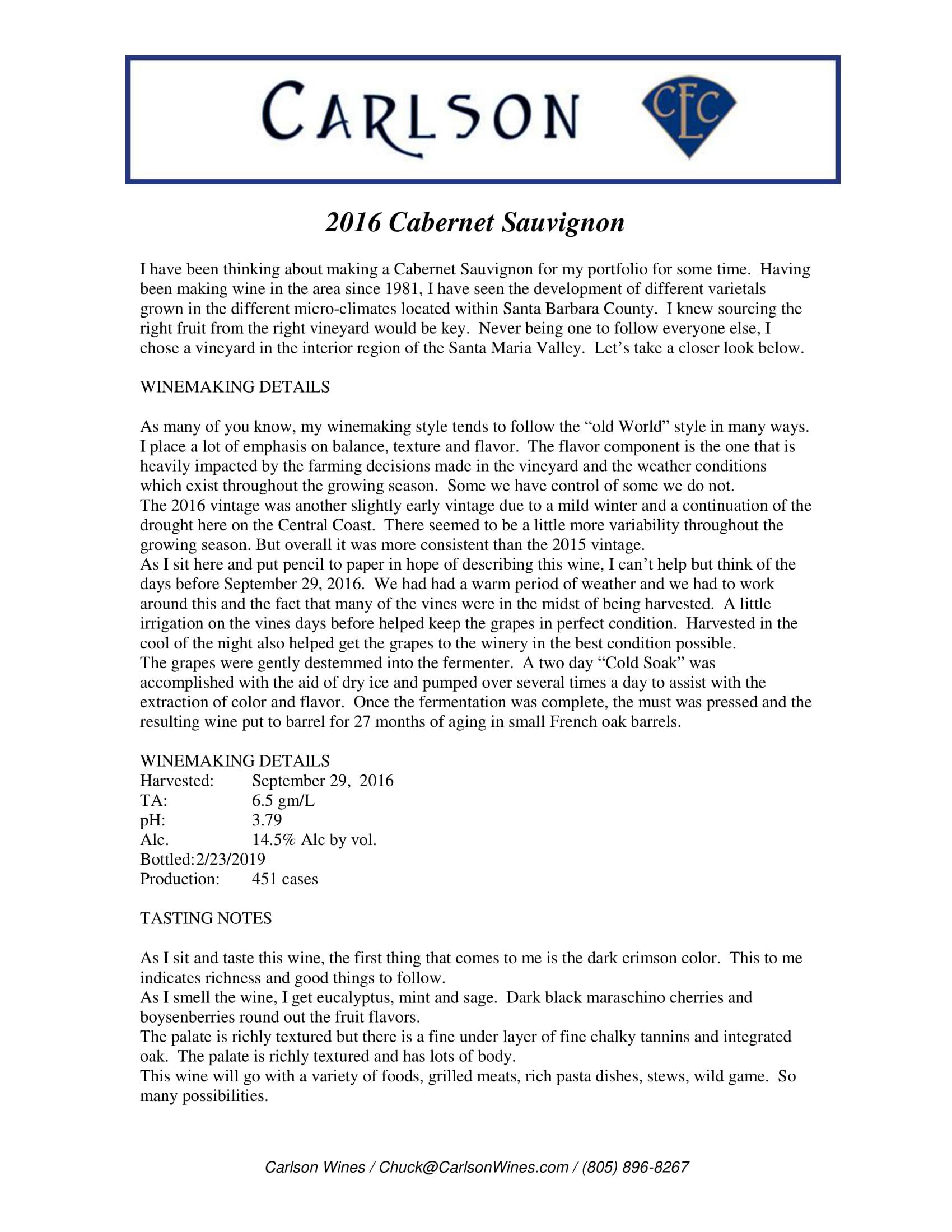 Carlson Cabernet Sauvignon Tech Sheet