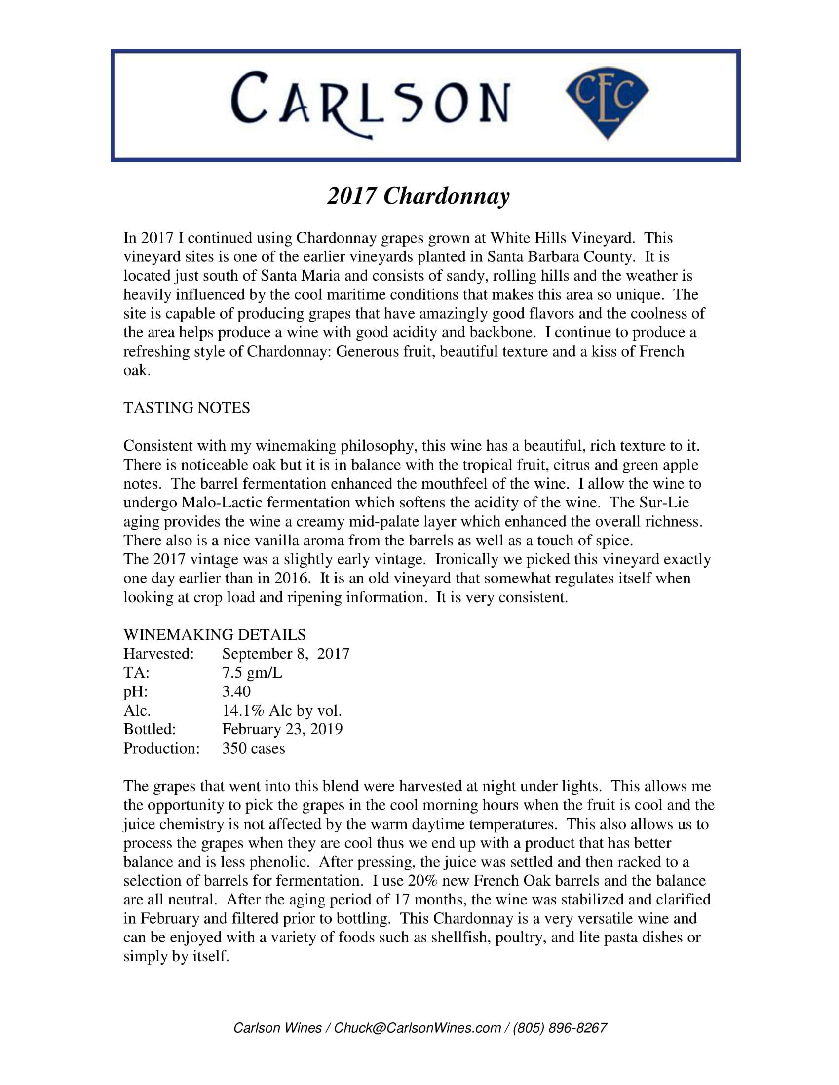 Carlson Chardonnay Tech Sheet