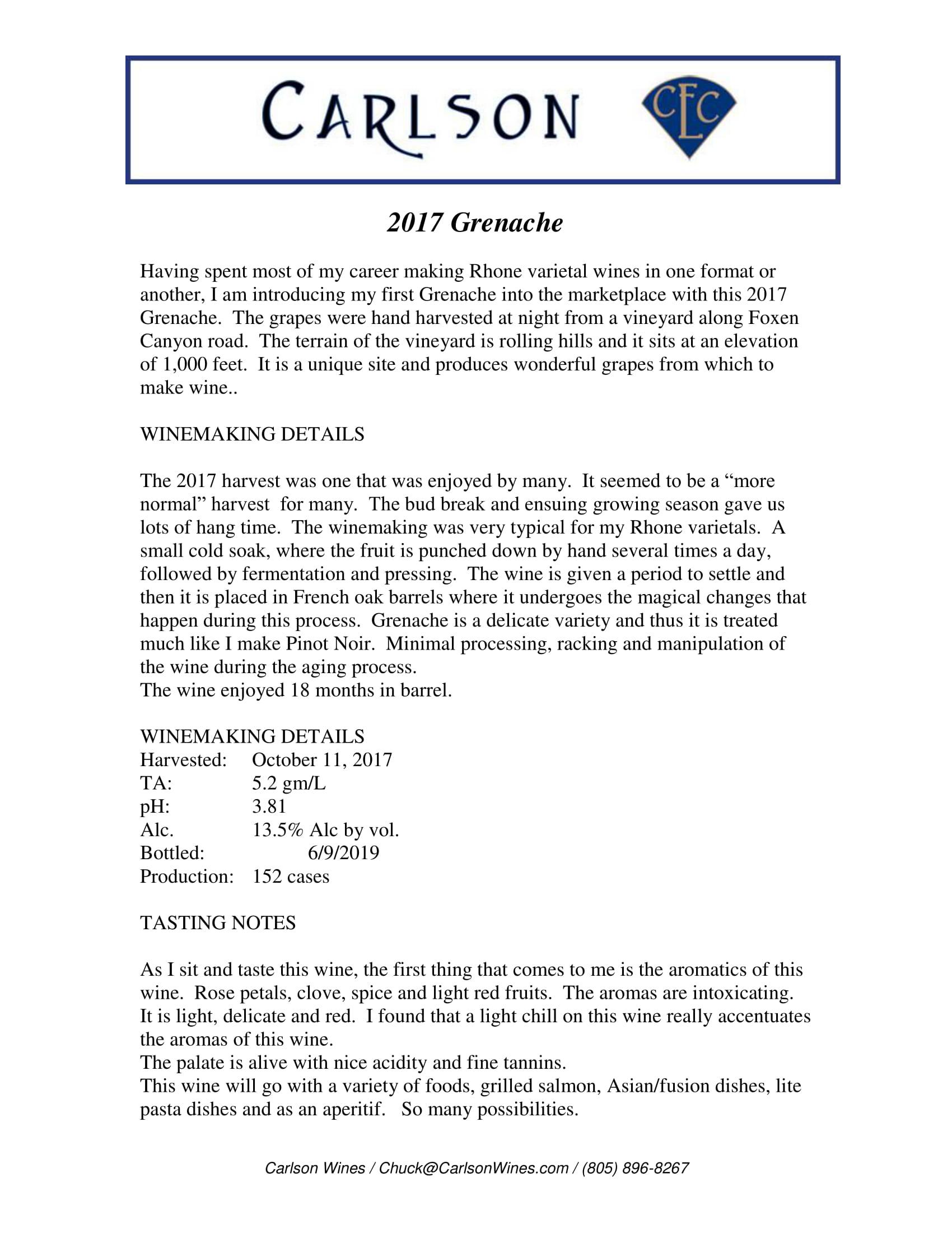 Carlson Grenache Tech Sheet