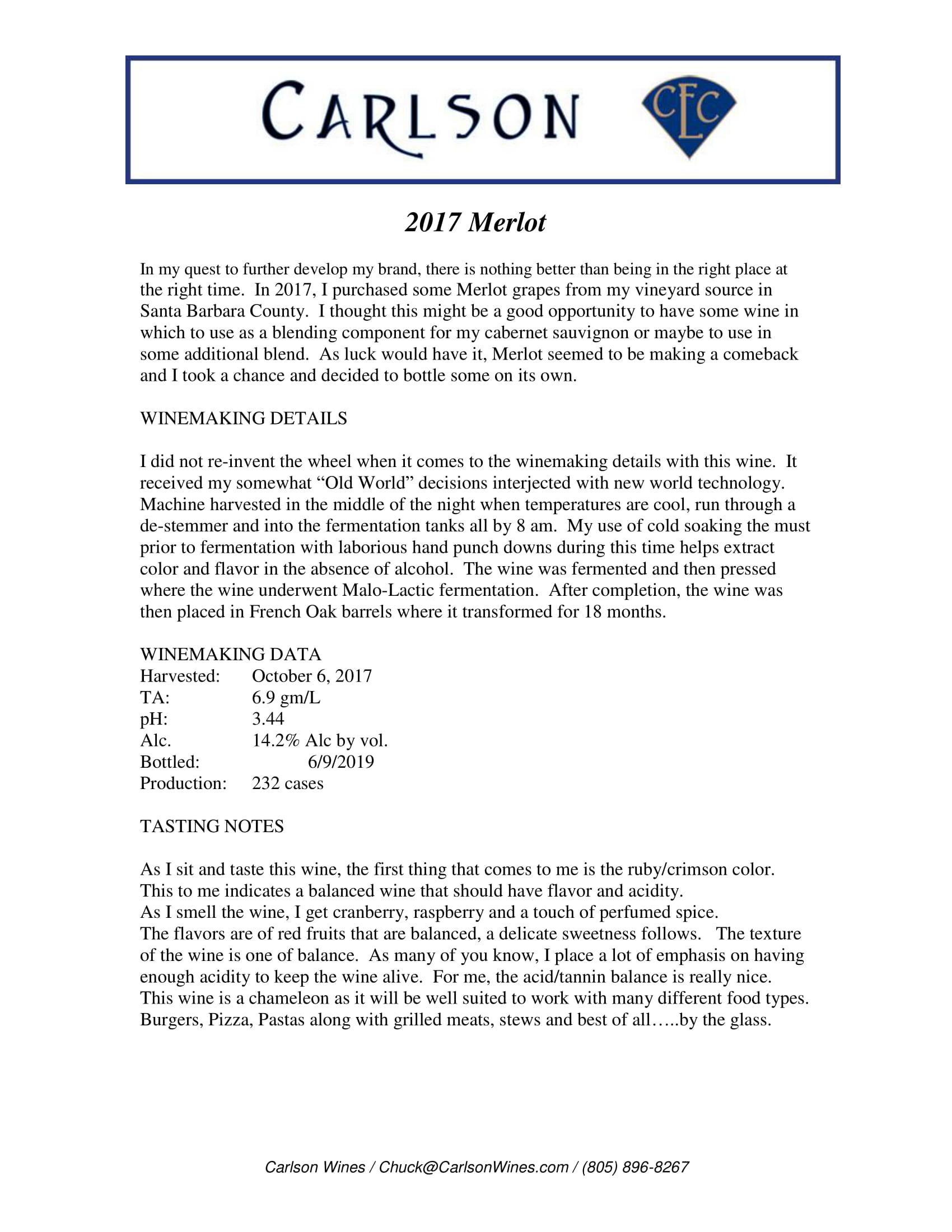 Carlson Merlot Tech Sheet