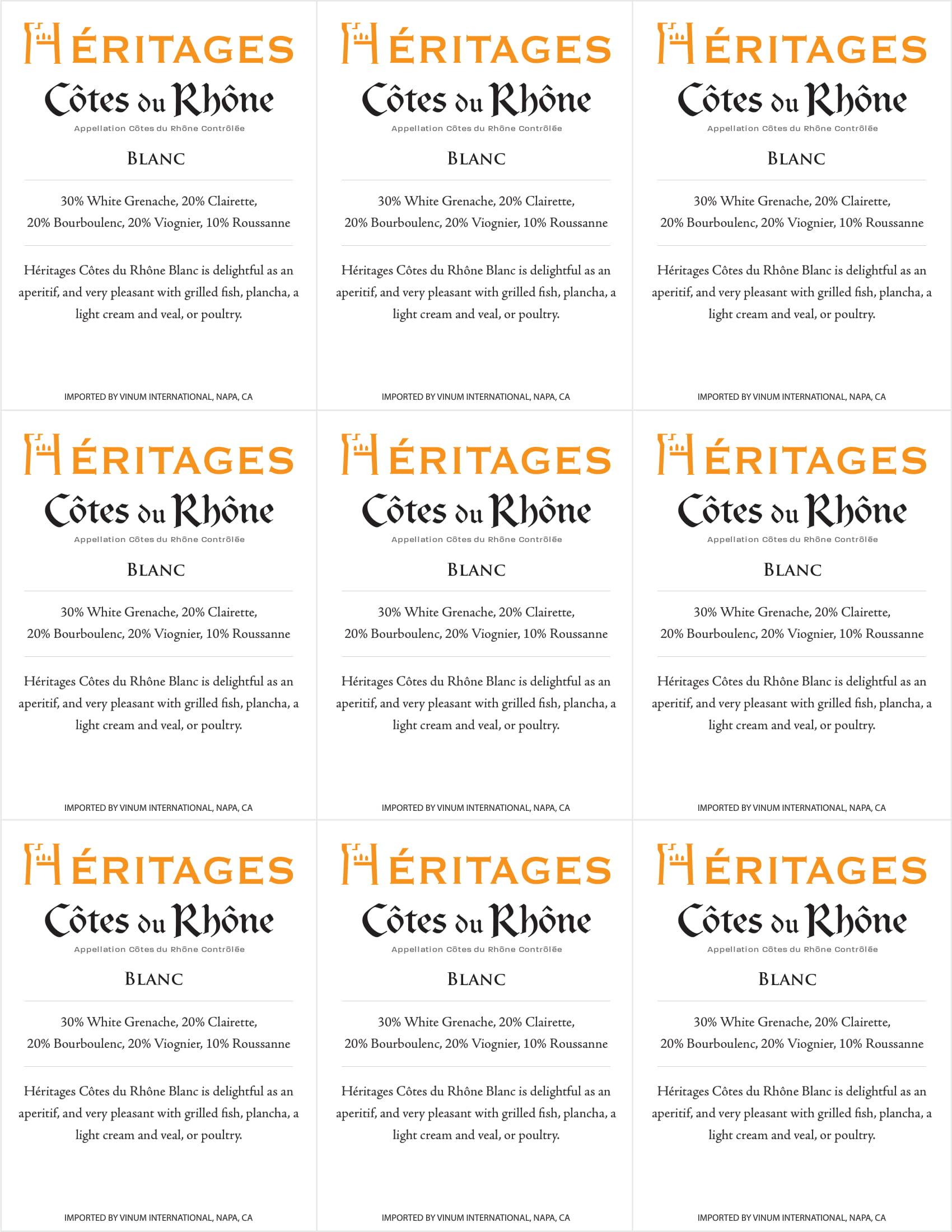 Heritages Blanc Shelf Talker