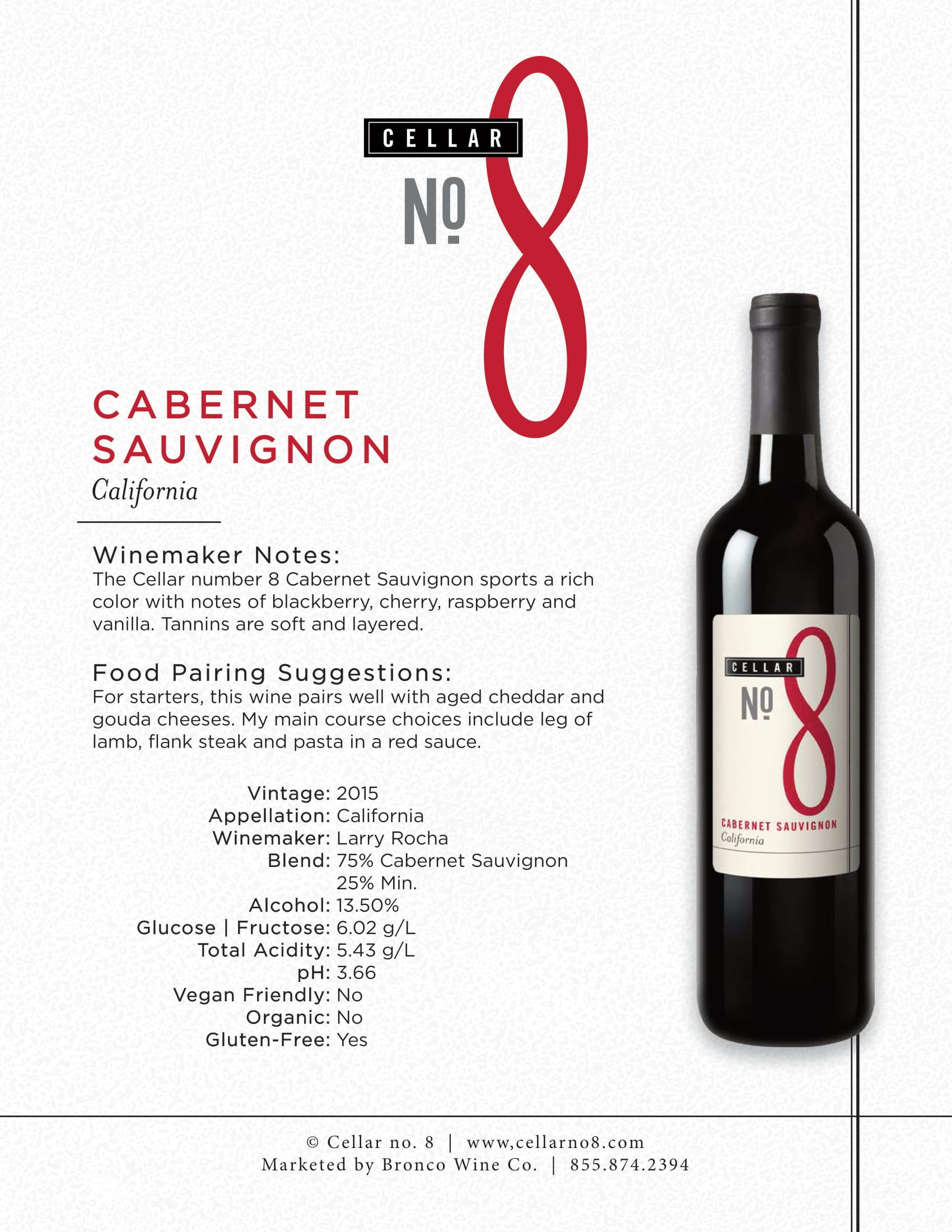 Cellar #8 Cabernet Sauvignon Tech Sheet