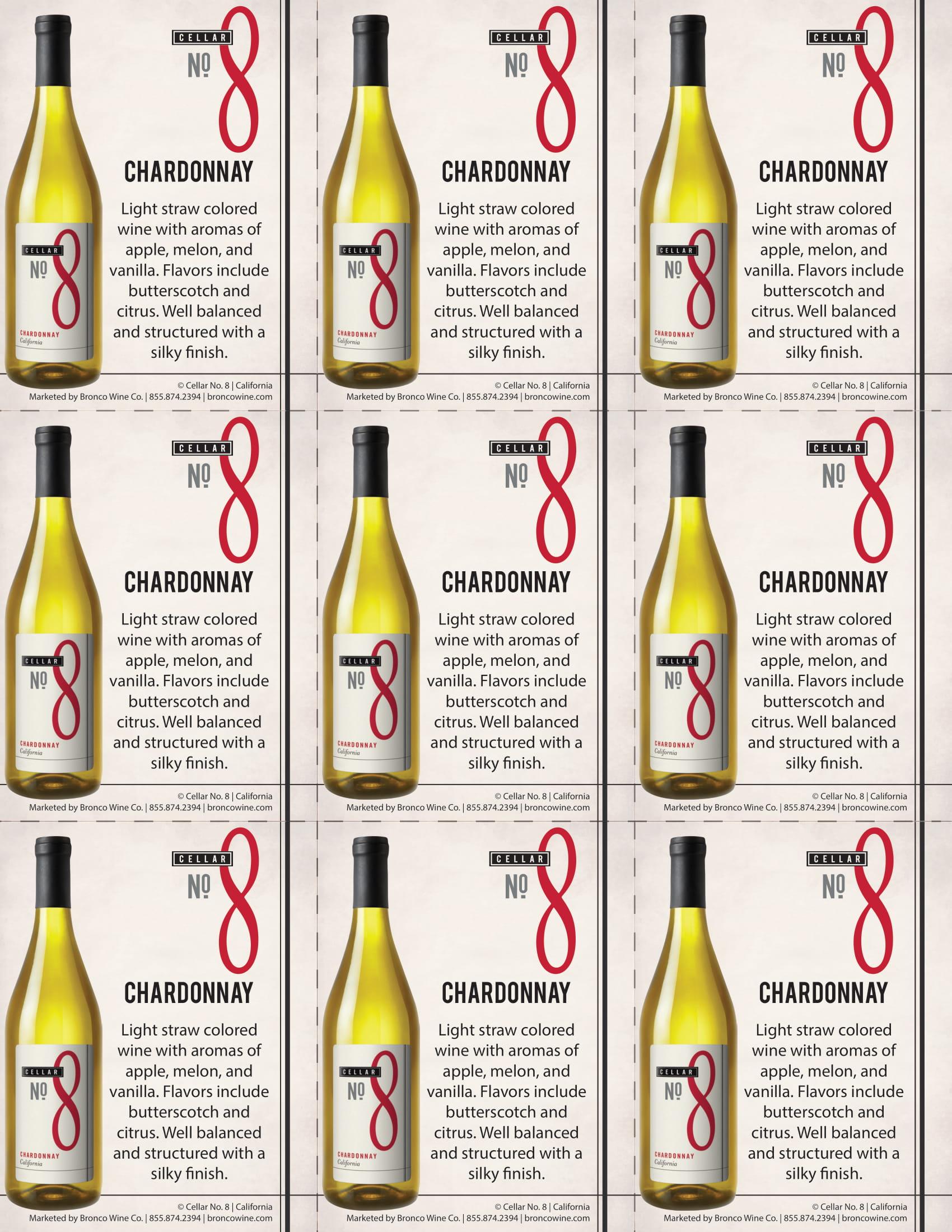 Cellar #8 Chardonnay Shelf Talkers