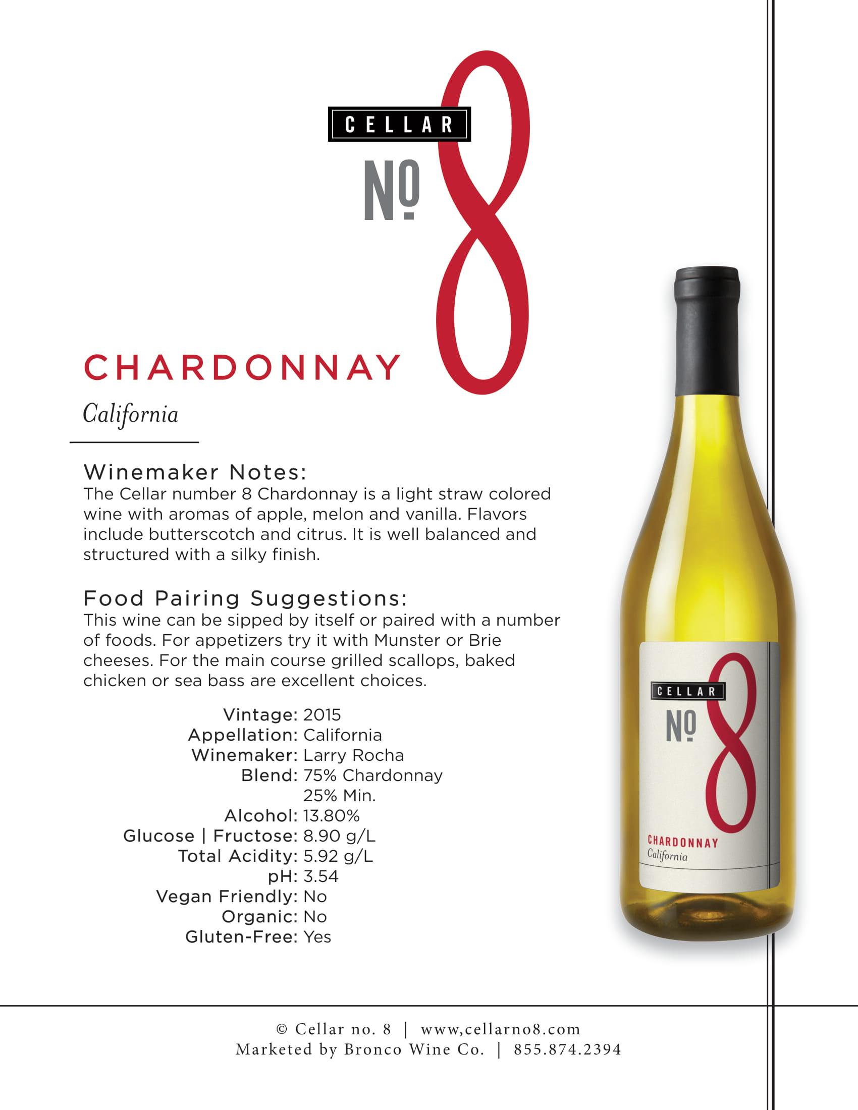 Cellar #8 Chardonnay Tech Sheet