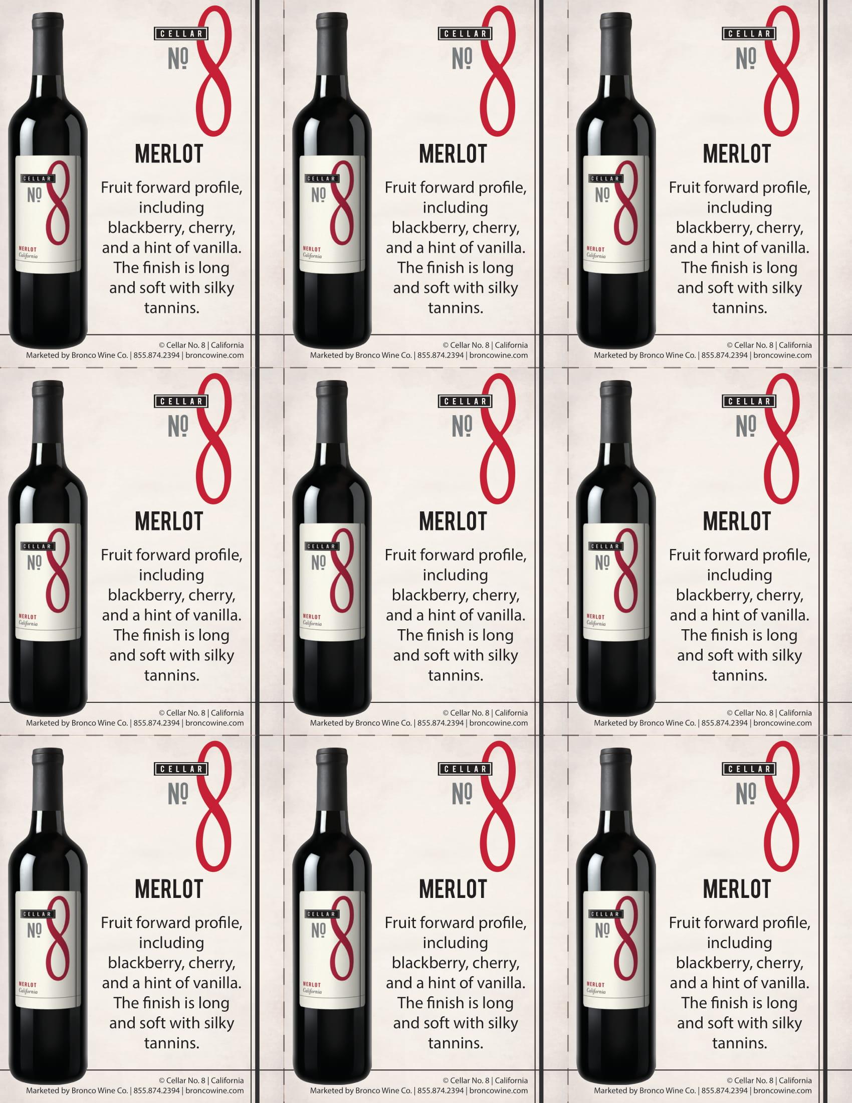 Cellar #8 Merlot Shelf Talkers