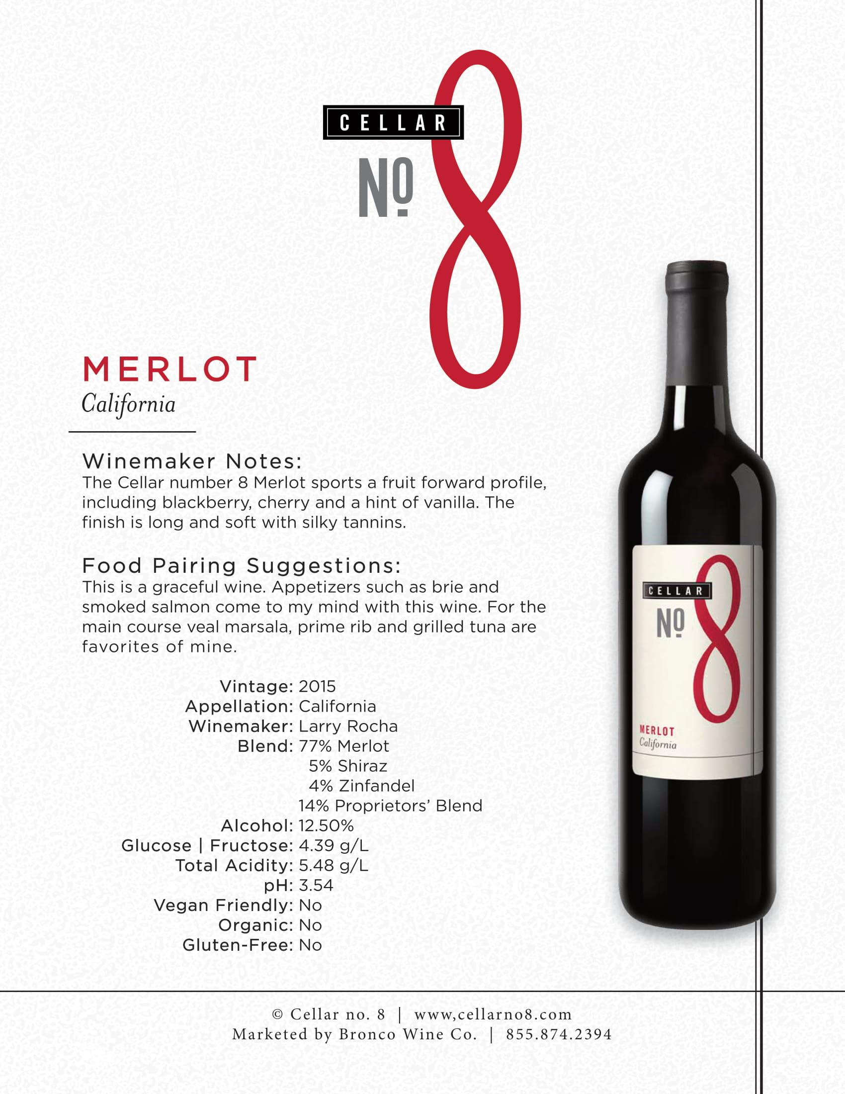 Cellar #8 Merlot Tech Sheet
