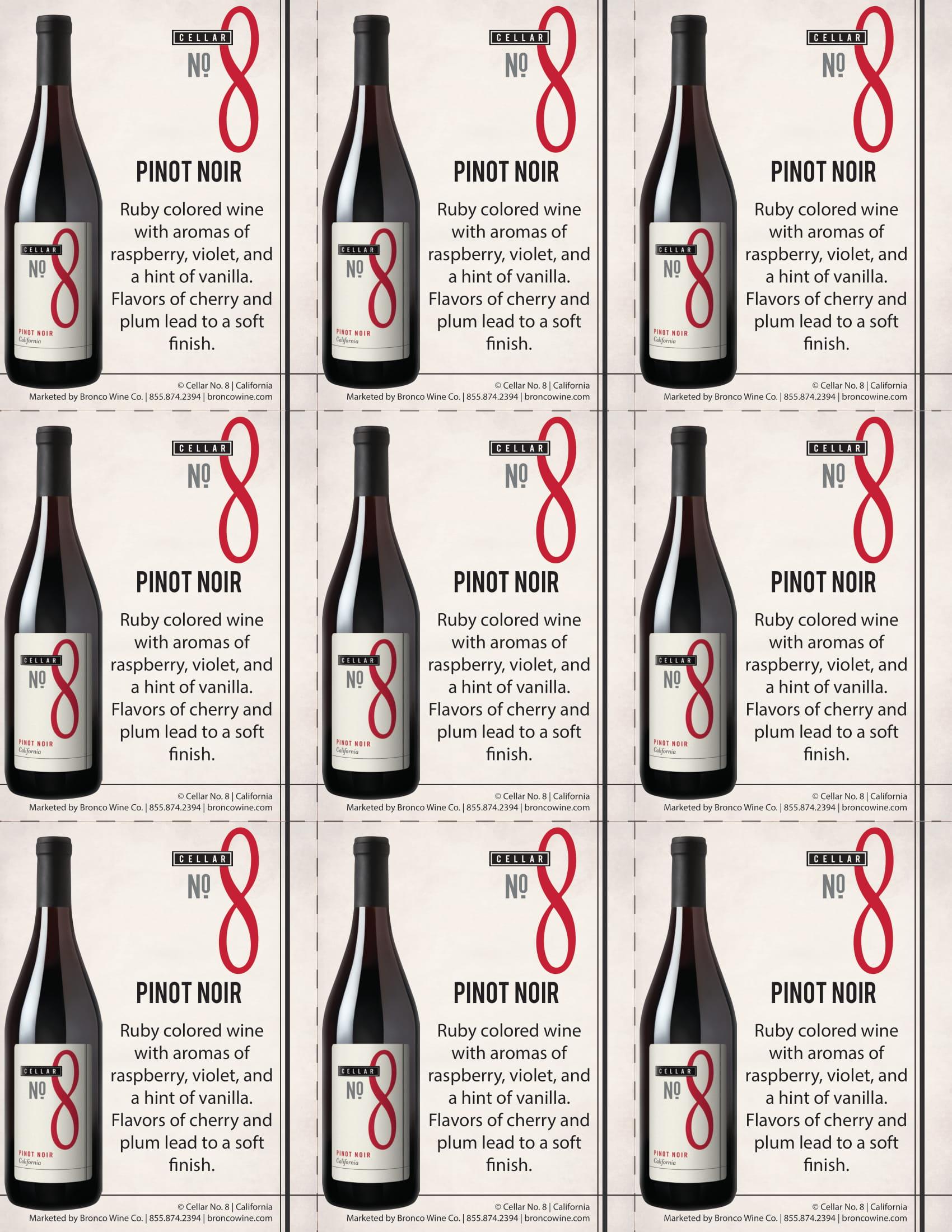Cellar #8 Pinot Noir Shelf Talkers