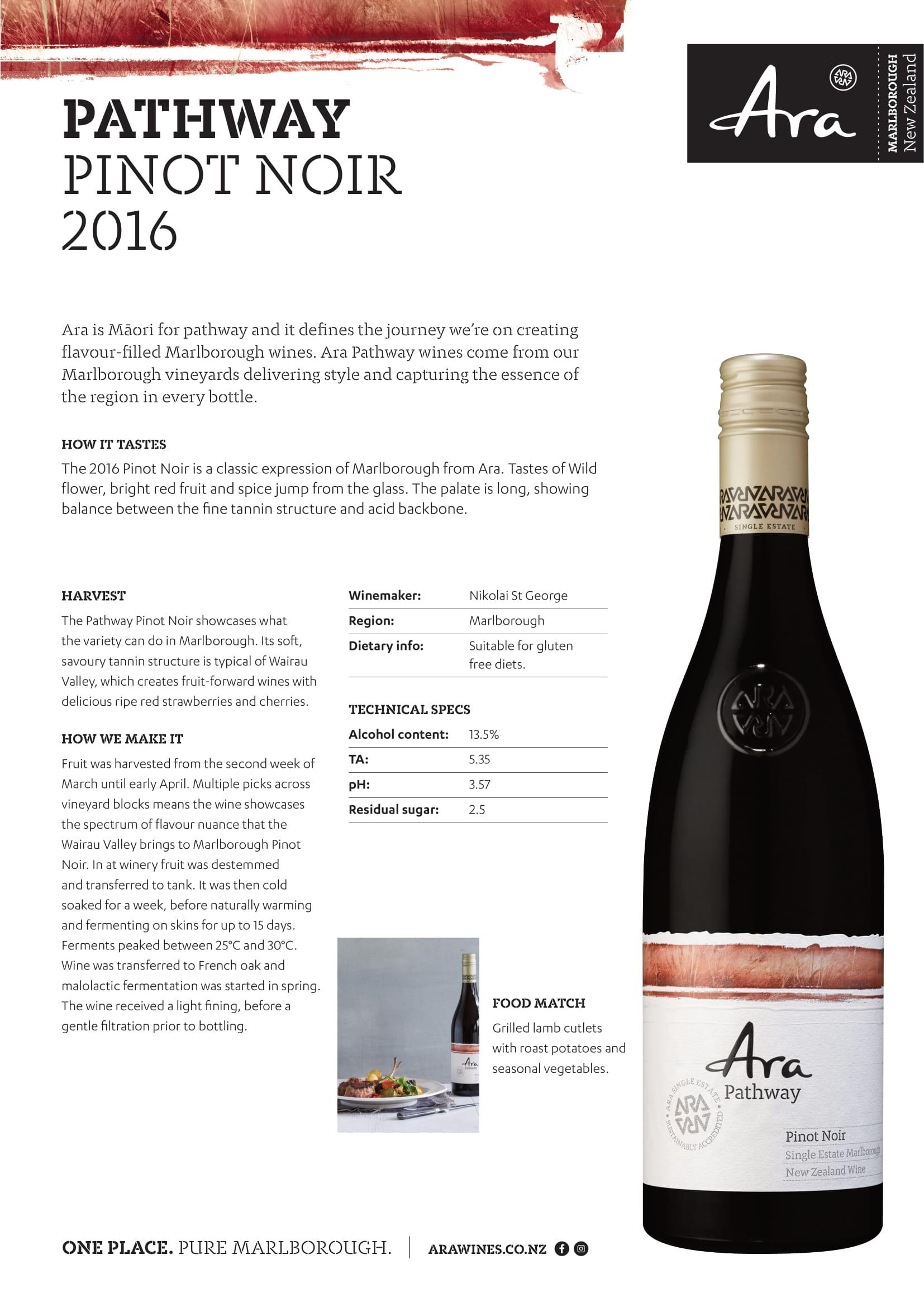 Ara Pathway Pinot Noir Tech Sheet