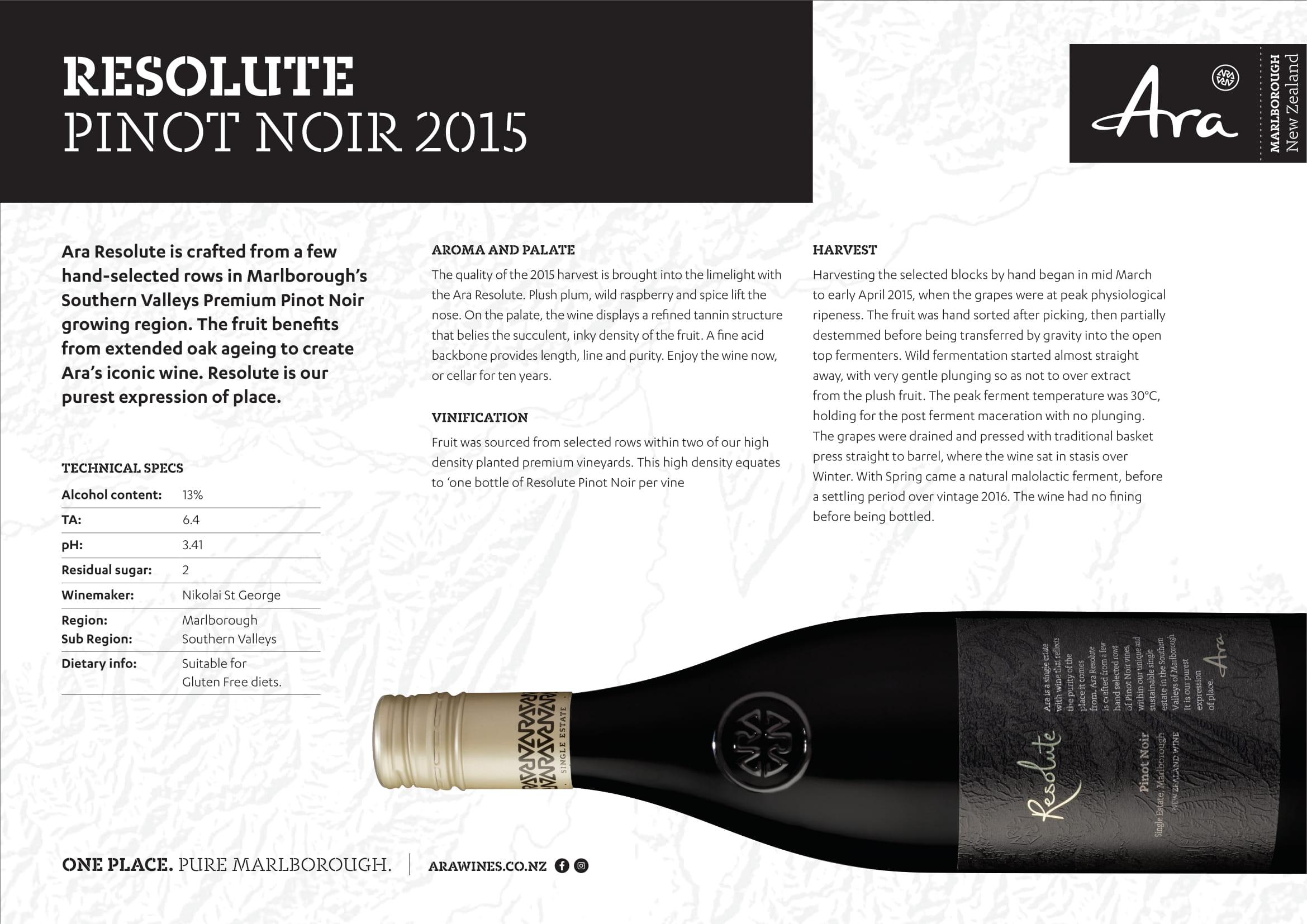 Ara Resolute Pinot Noir Tech Sheet