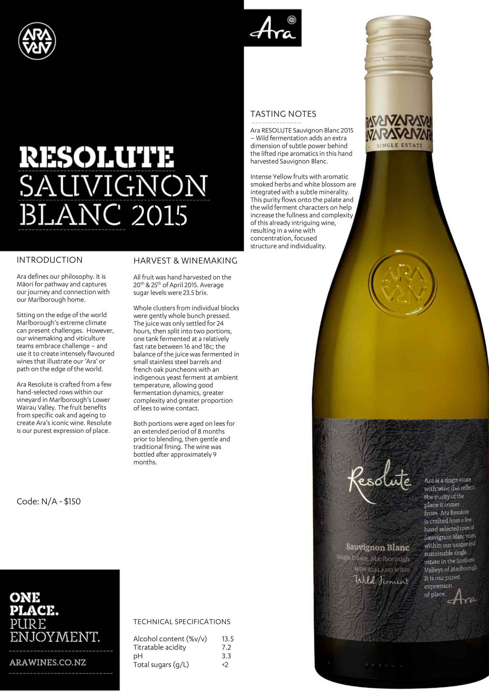 Ara Resolute Sauvignon Blanc Tech Sheet
