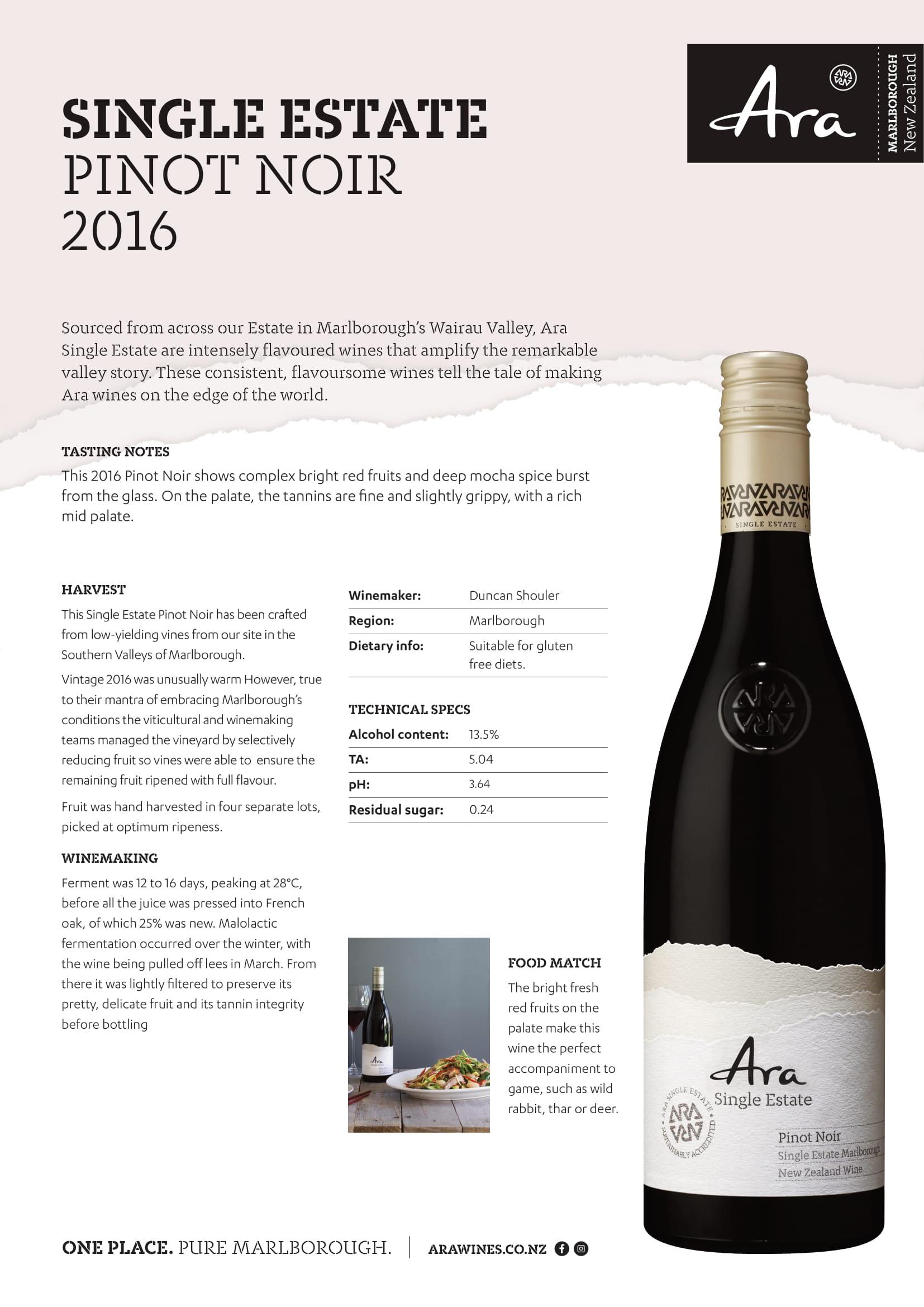 Ara Single Estate Pinot Noir Tech Sheet
