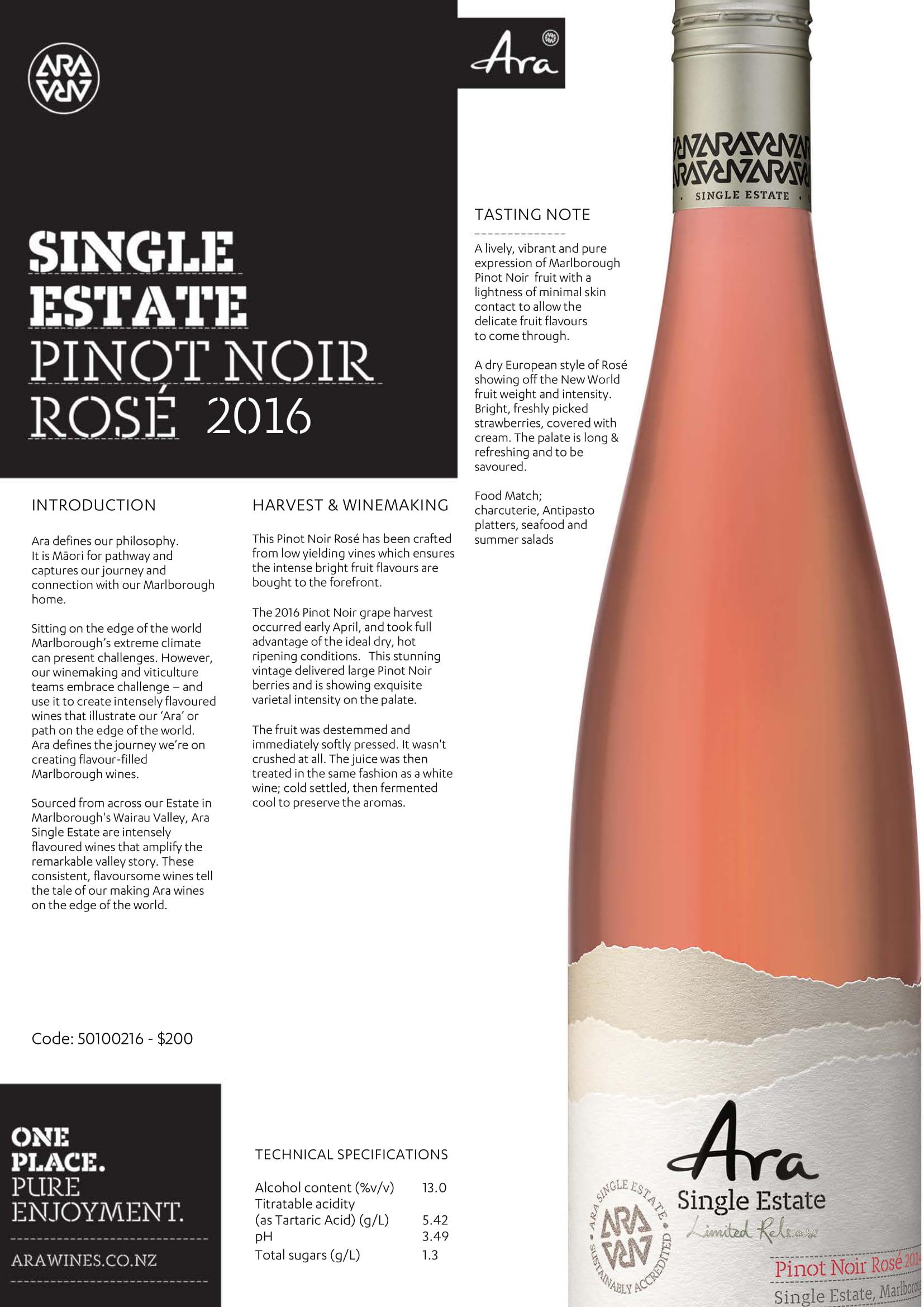 Ara Single Estate Rosé of Pinot Noir Tech Sheet