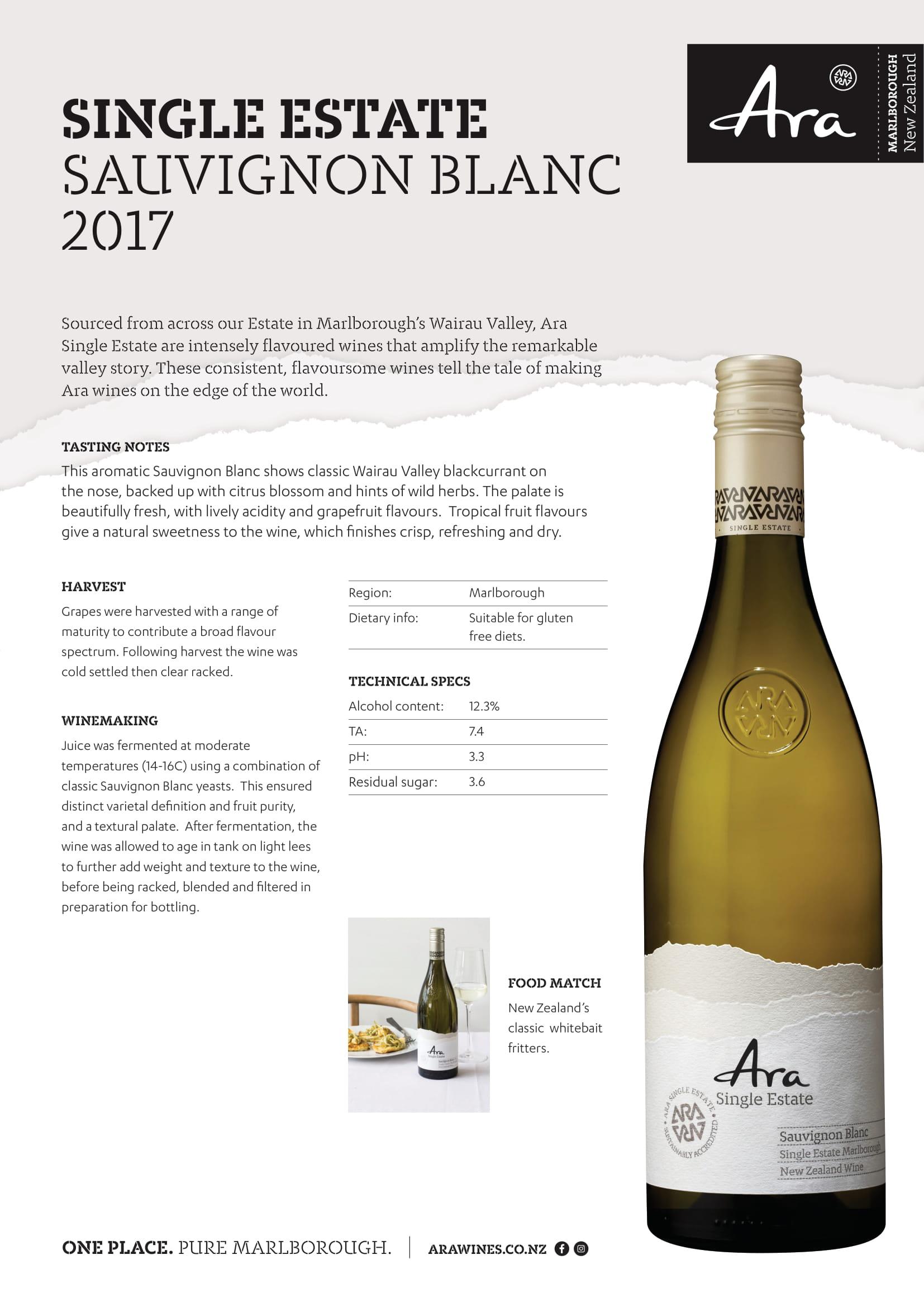 Ara Single Estate Sauvignon Blanc Tech Sheet